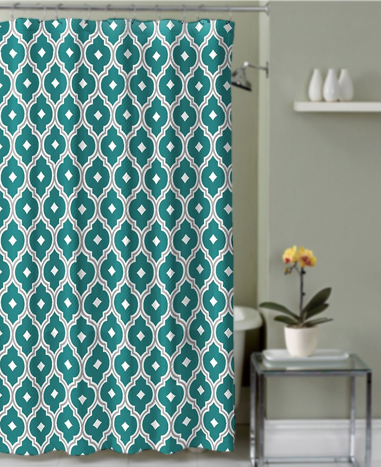 Crest home renard fabric shower curtain teal and grey for Crest home designs curtains