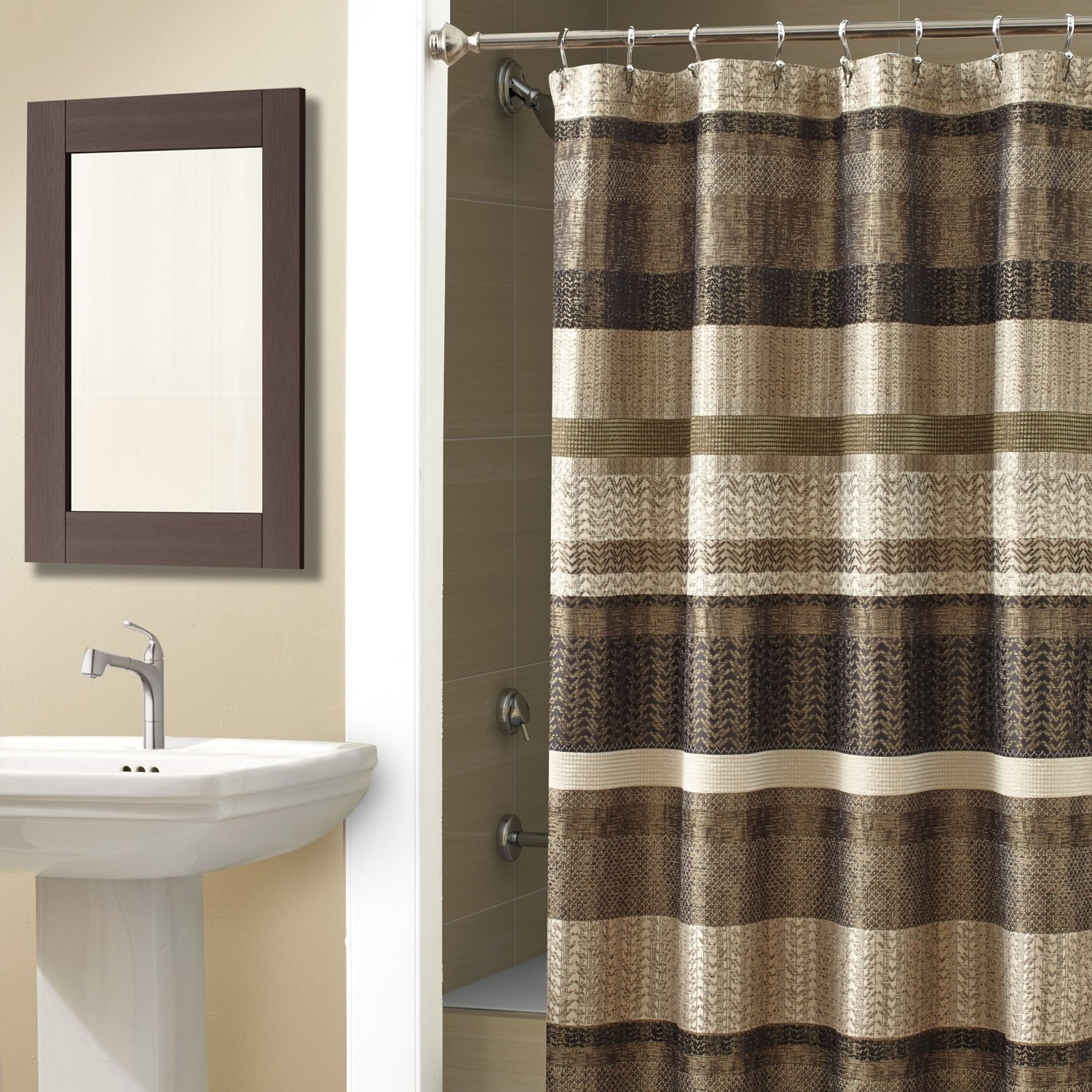 curtain hooks fabric products piece mosaic sets rugs bath curtains hotel non mats taupe shower slip bathroom