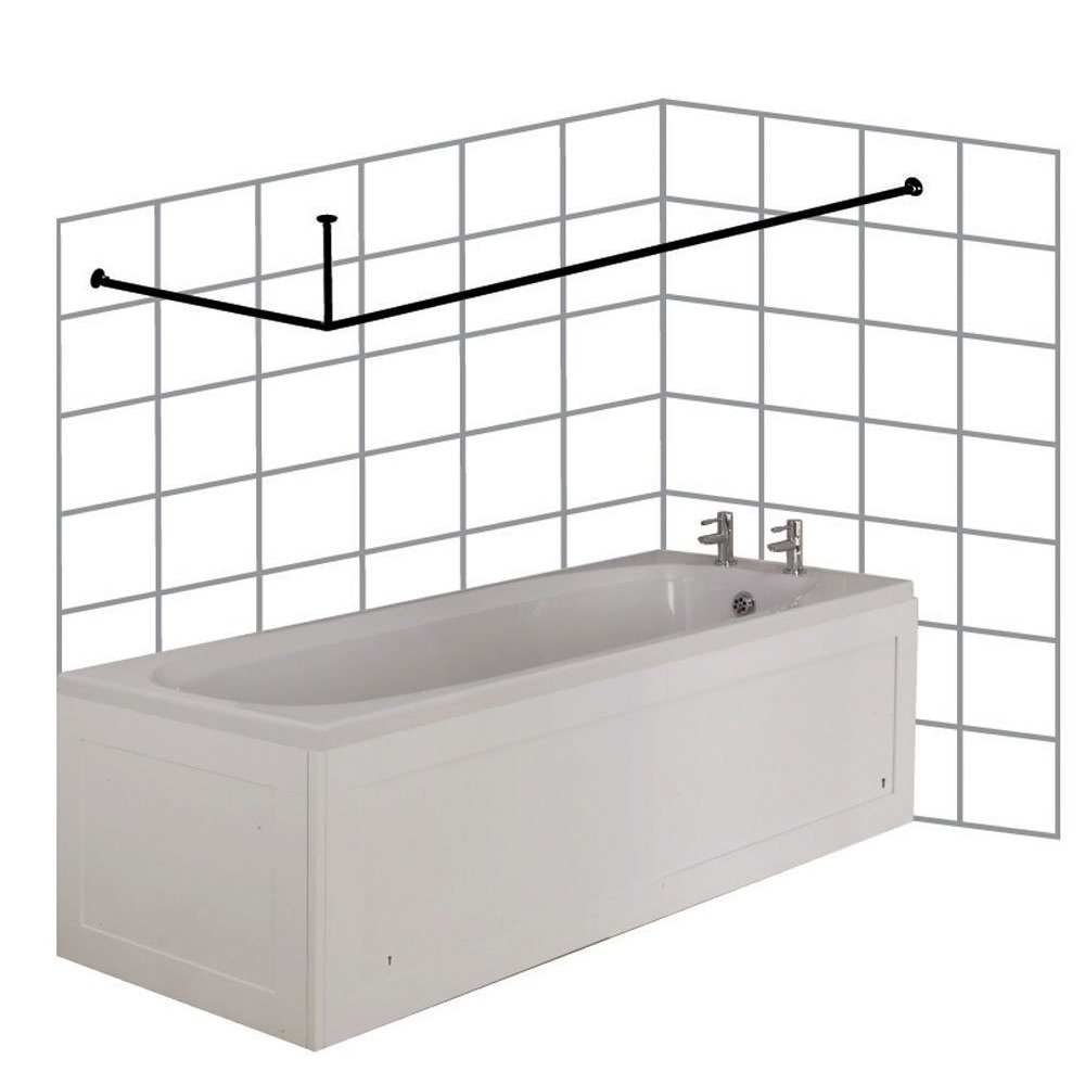 Croydex Large L Shaped To Wall Rod Curtain Rail And Ceiling Support for proportions 1000 X 1000