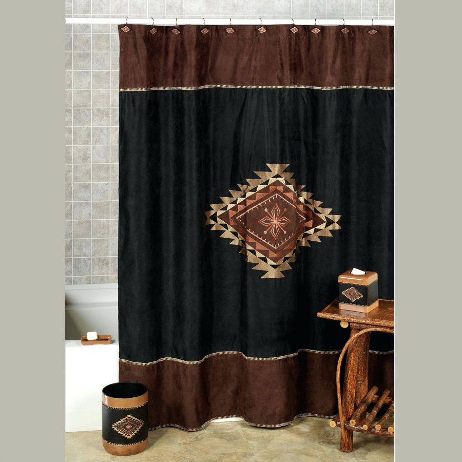 Buckmark Embroidered Suede Shower Curtain Cobra Fabric