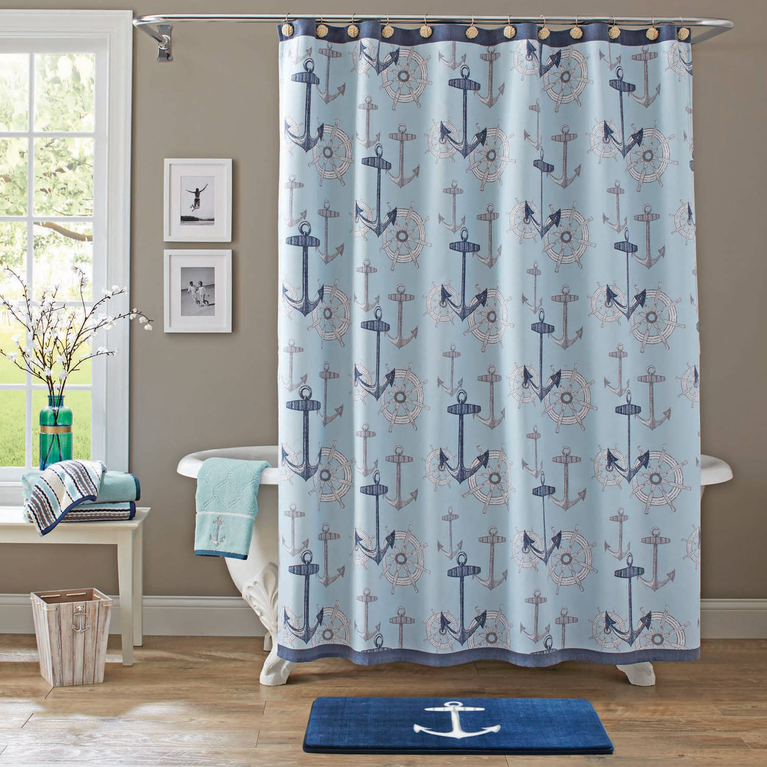 White and navy shower curtain navy cotton shower curtain for Navy blue curtains ikea