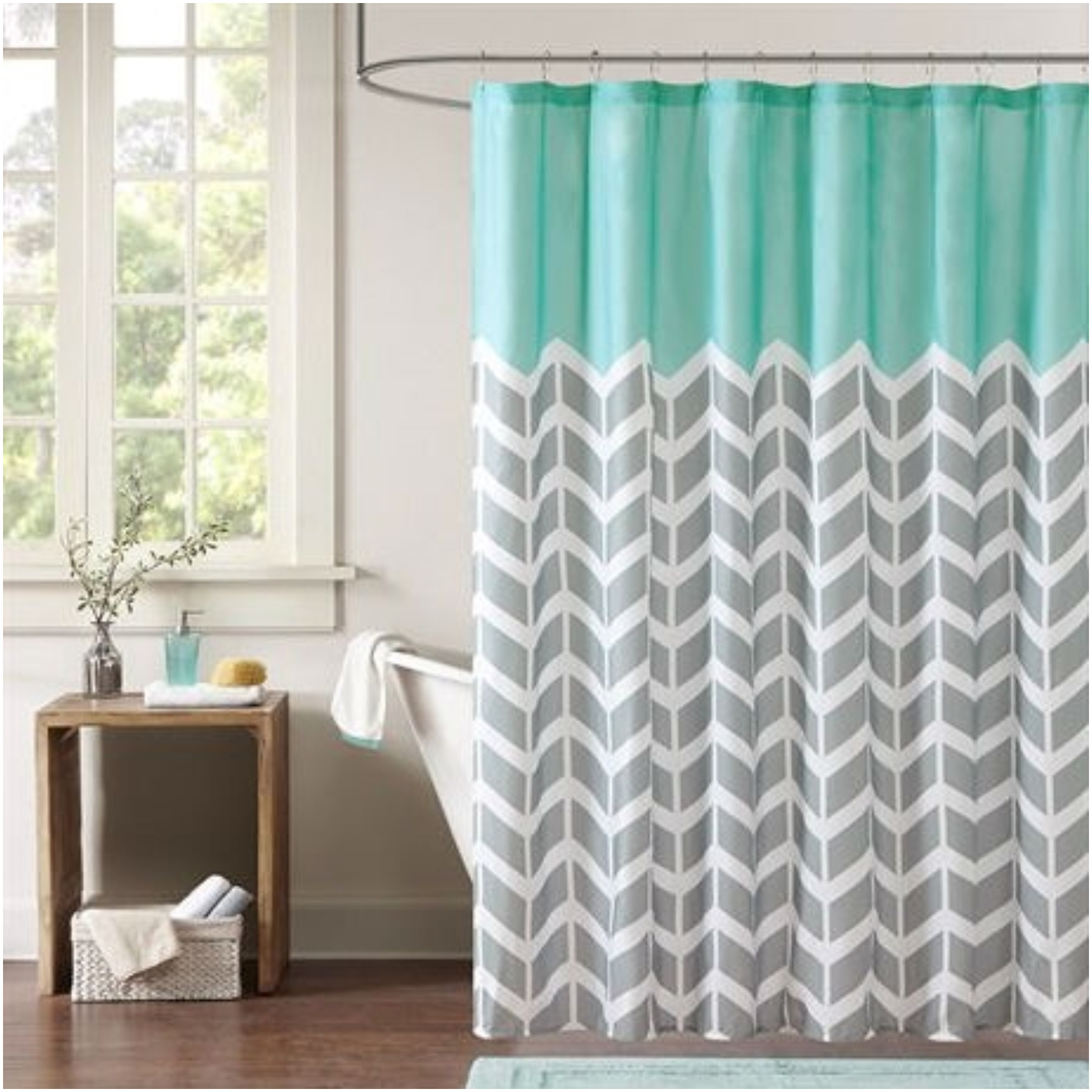 Curtains Blue Gray And White Shower Curtain In Bathroom With with regard to size 1800 X 1800