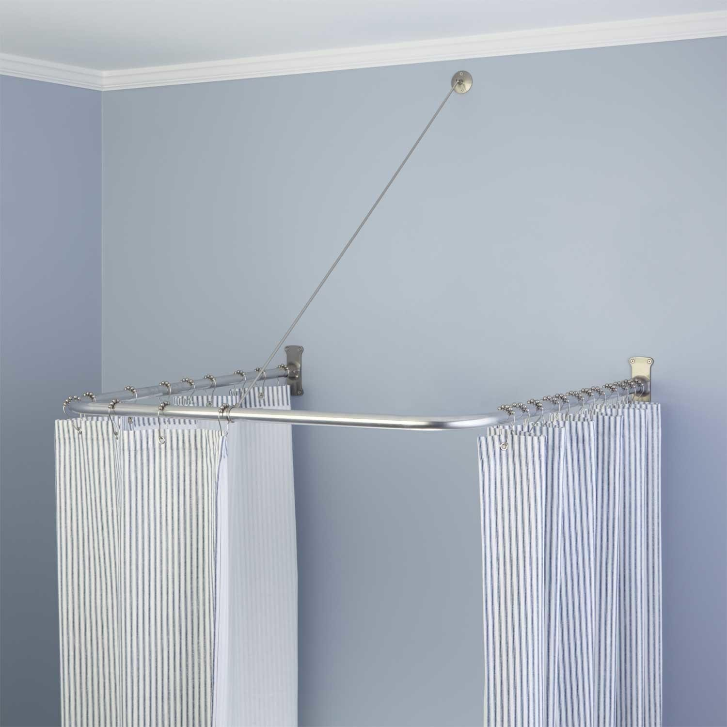 mediterranean traditional curtain rods bathroom spaces mounted with shower ceilings rod long ceiling