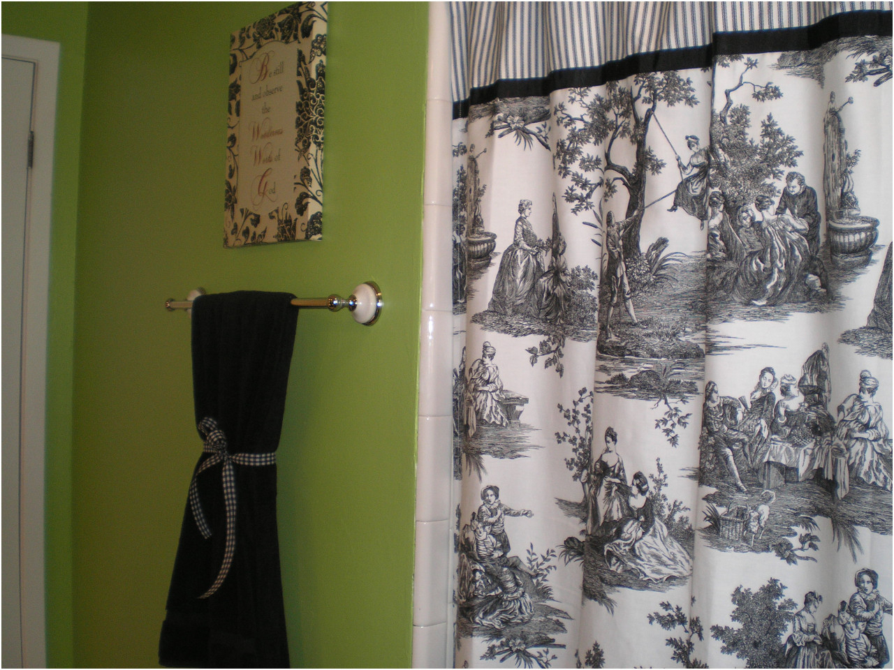 Pink And Green Toile Shower Curtain • Shower Curtains Ideas