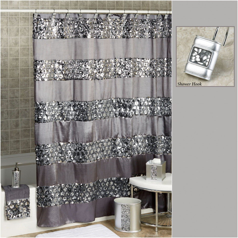 Curtains Drapes Marvelous Gray And White Shower Curtain Best In Size 970 X  With Sequins Ideas
