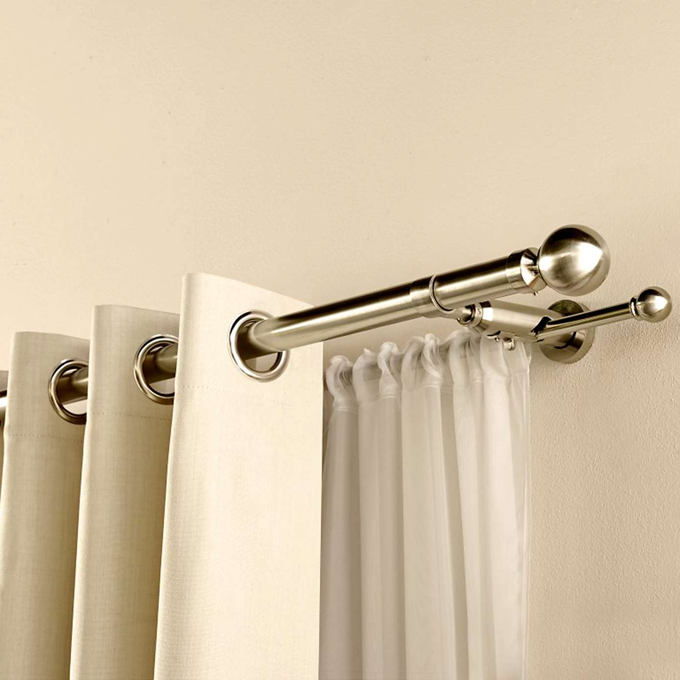 Stainless Steel Double Shower Curtain Rod • Shower Curtains Ideas
