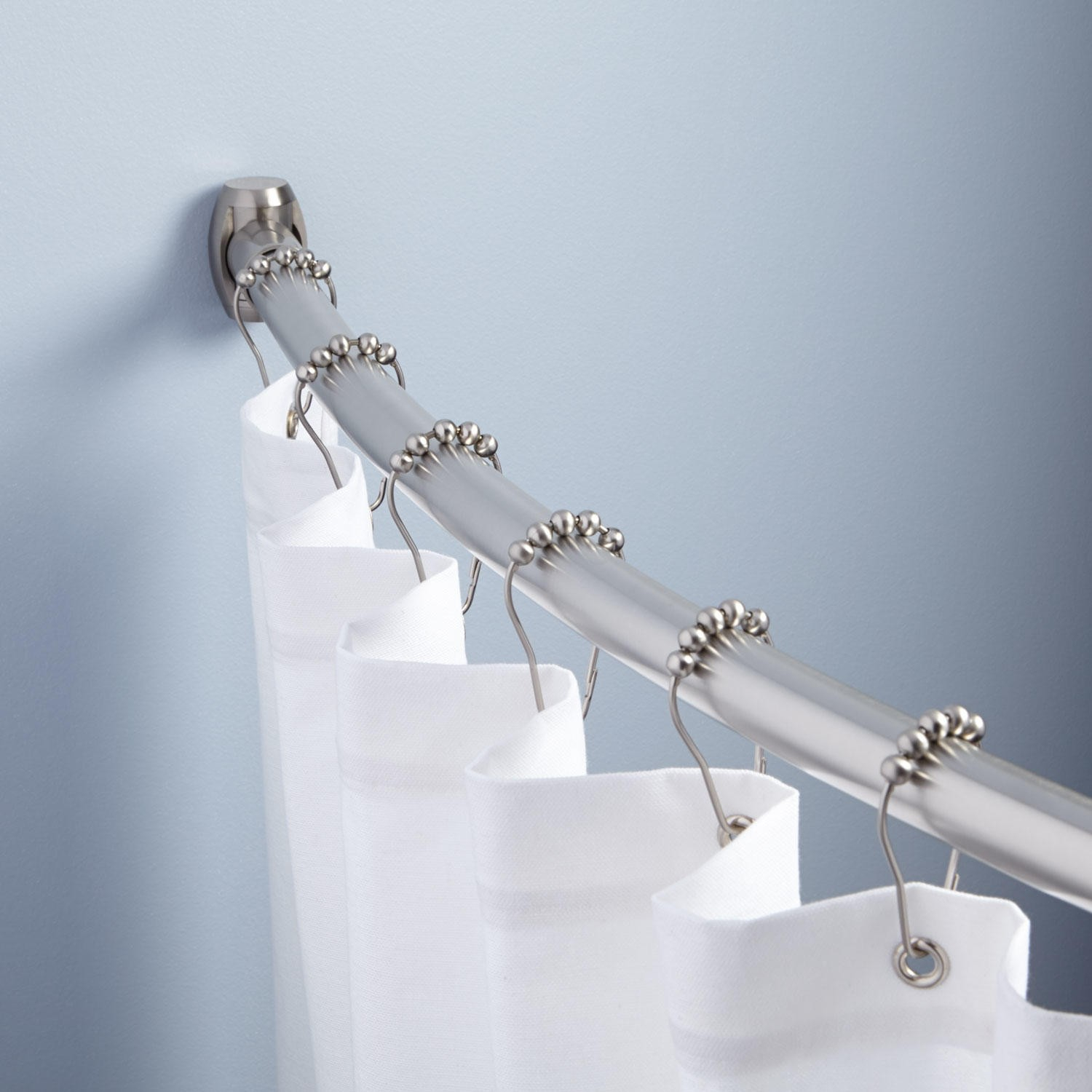 One Piece Curved Shower Curtain Rod • Shower Curtains Ideas