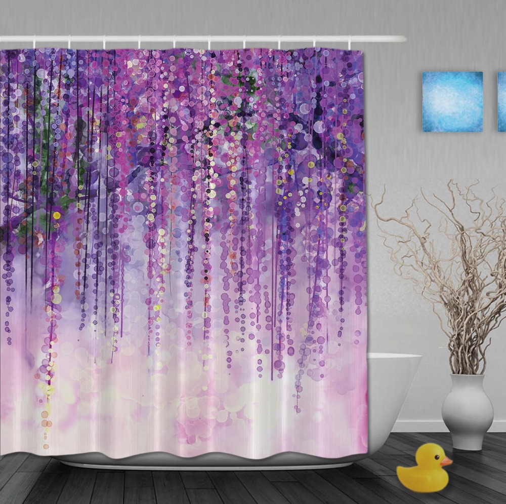 Custom Watercolor Drawing Purple Flower Shinny Spring Day Shower With  Regard To Size 1000 X 995