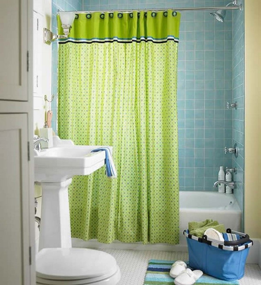 Cute Lime Green Accents Curtain For Small Bathroom Design Idea with dimensions 915 X 998