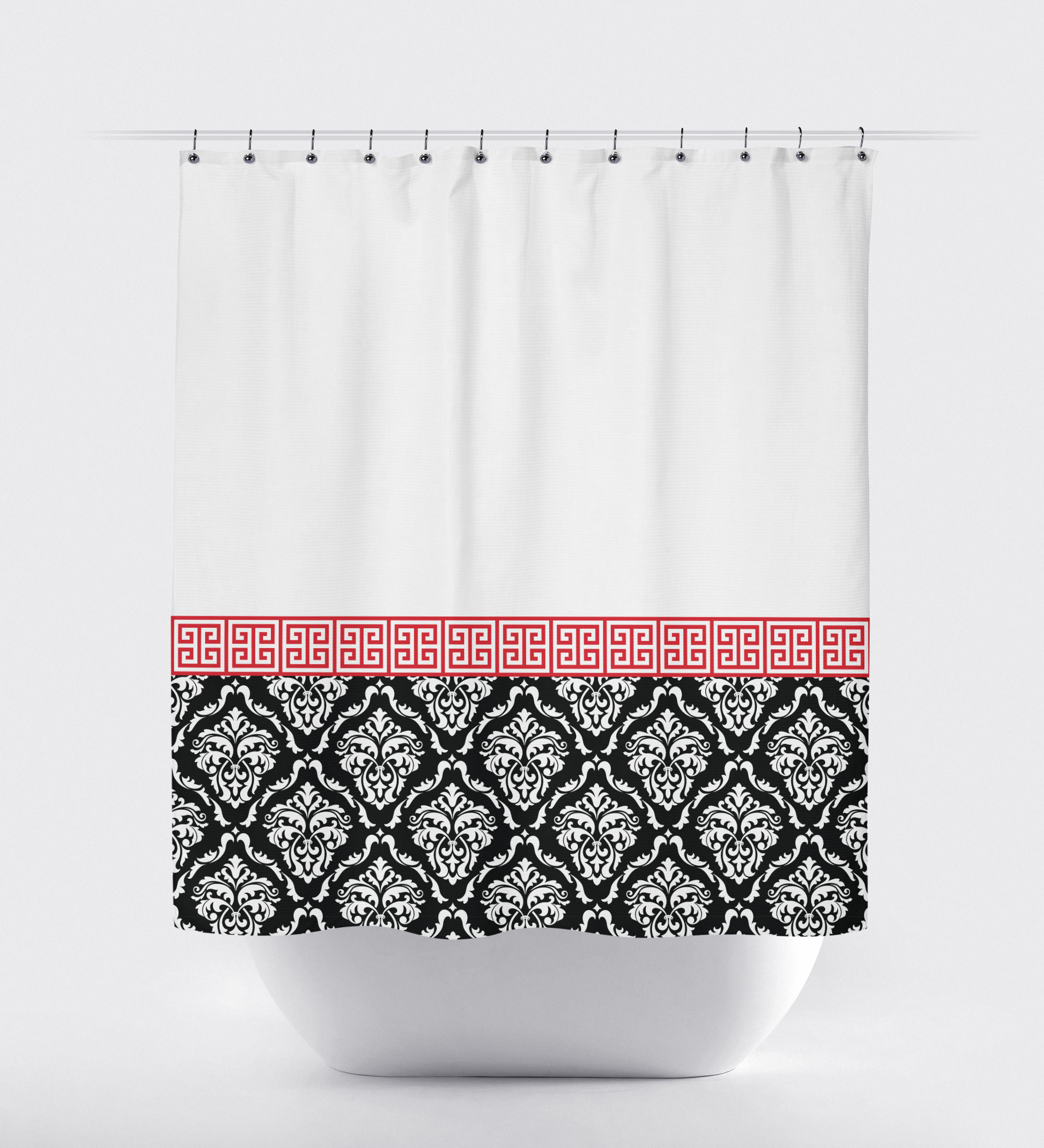 Damask And Greek Key Shower Curtain Grey Navy Blue White Or inside dimensions 2000 X 2200
