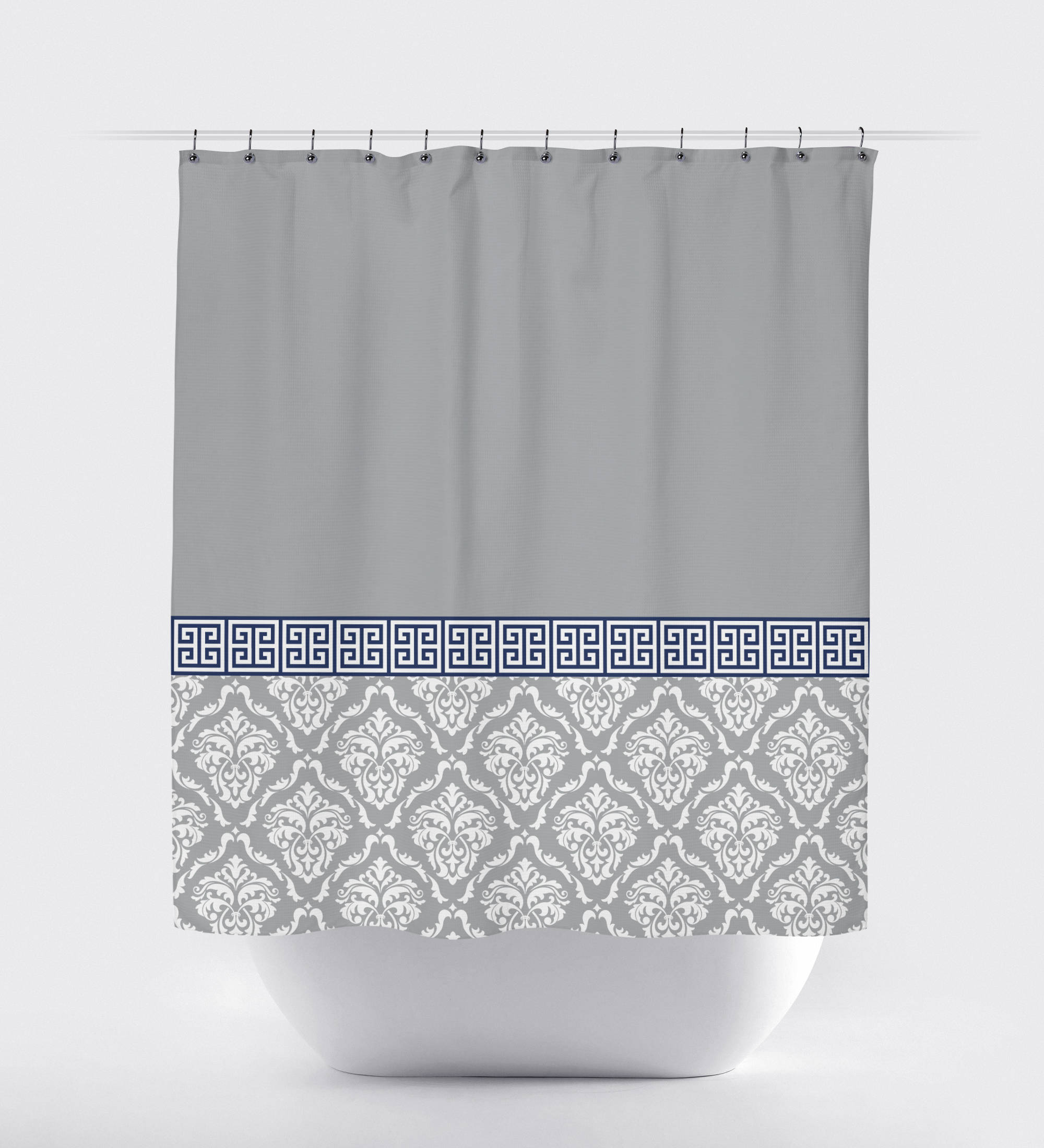 Damask And Greek Key Shower Curtain Grey Navy Blue White Or throughout sizing 2000 X 2200