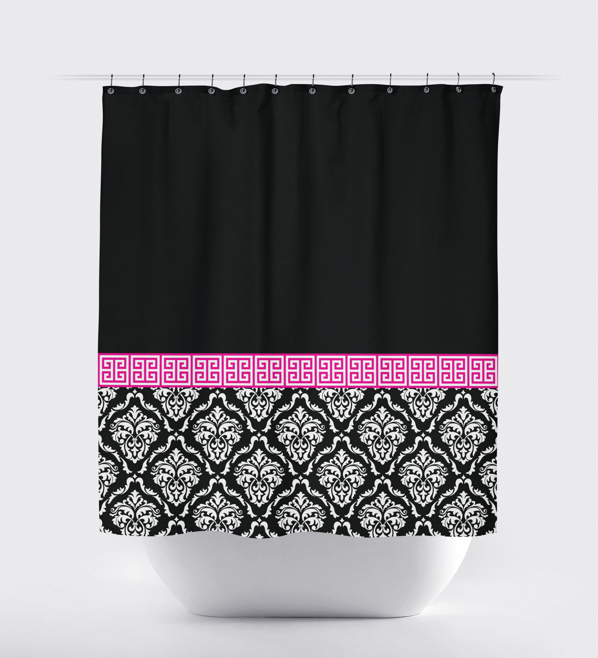 Damask And Greek Key Shower Curtain Grey Navy Blue White Or within measurements 2000 X 2200