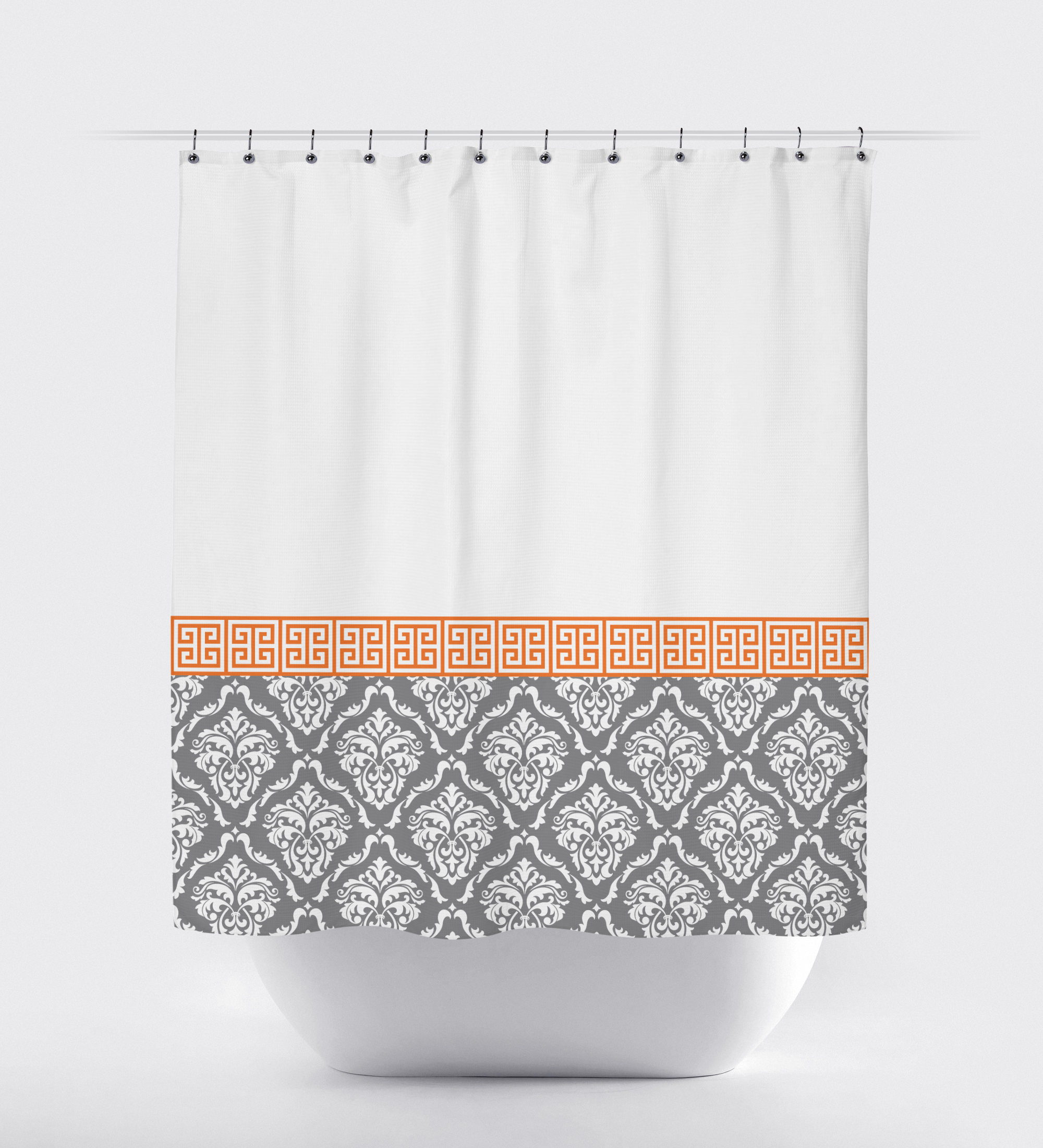 Damask And Greek Key Shower Curtain Hot Pink Black White Or pertaining to measurements 2000 X 2200