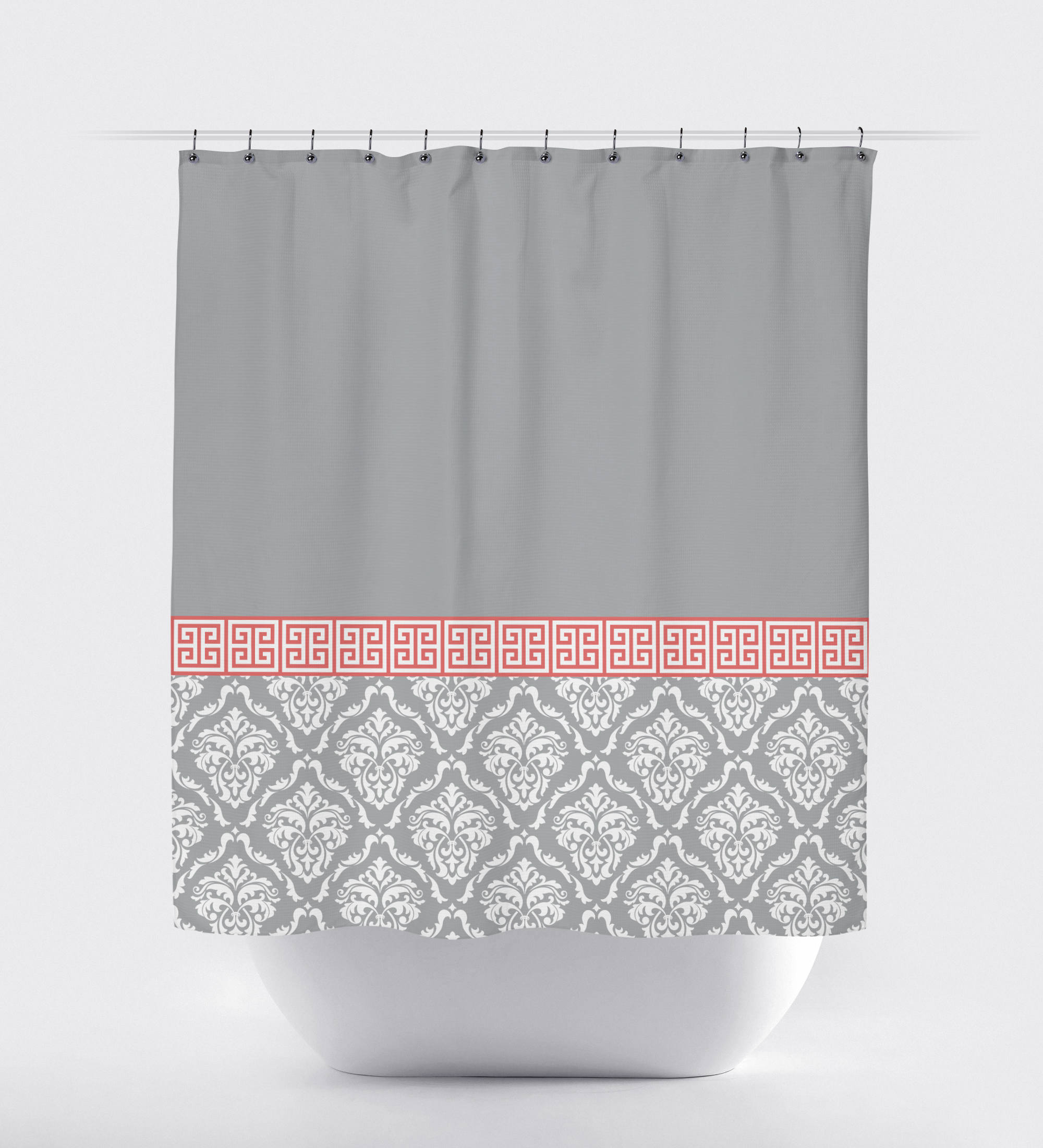 Damask And Greek Key Shower Curtain Hot Pink Black White Or with regard to measurements 2000 X 2200