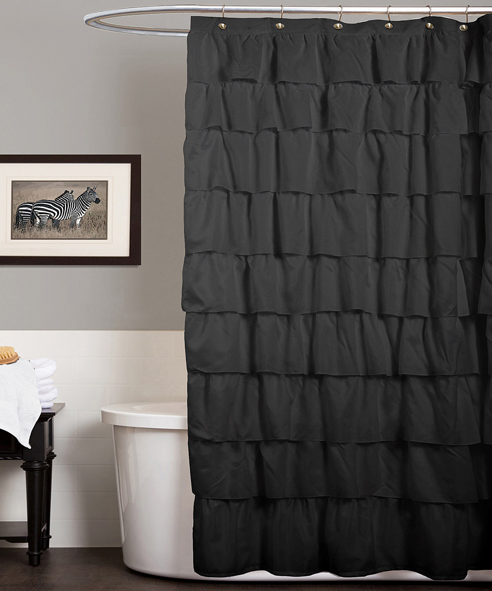 Brown And Gray Shower Curtain. Dark Grey Shower Curtain With Curved Rods For Elegant Bathroom for  dimensions 1000 X 1201 Gray Ruffle Curtains Ideas