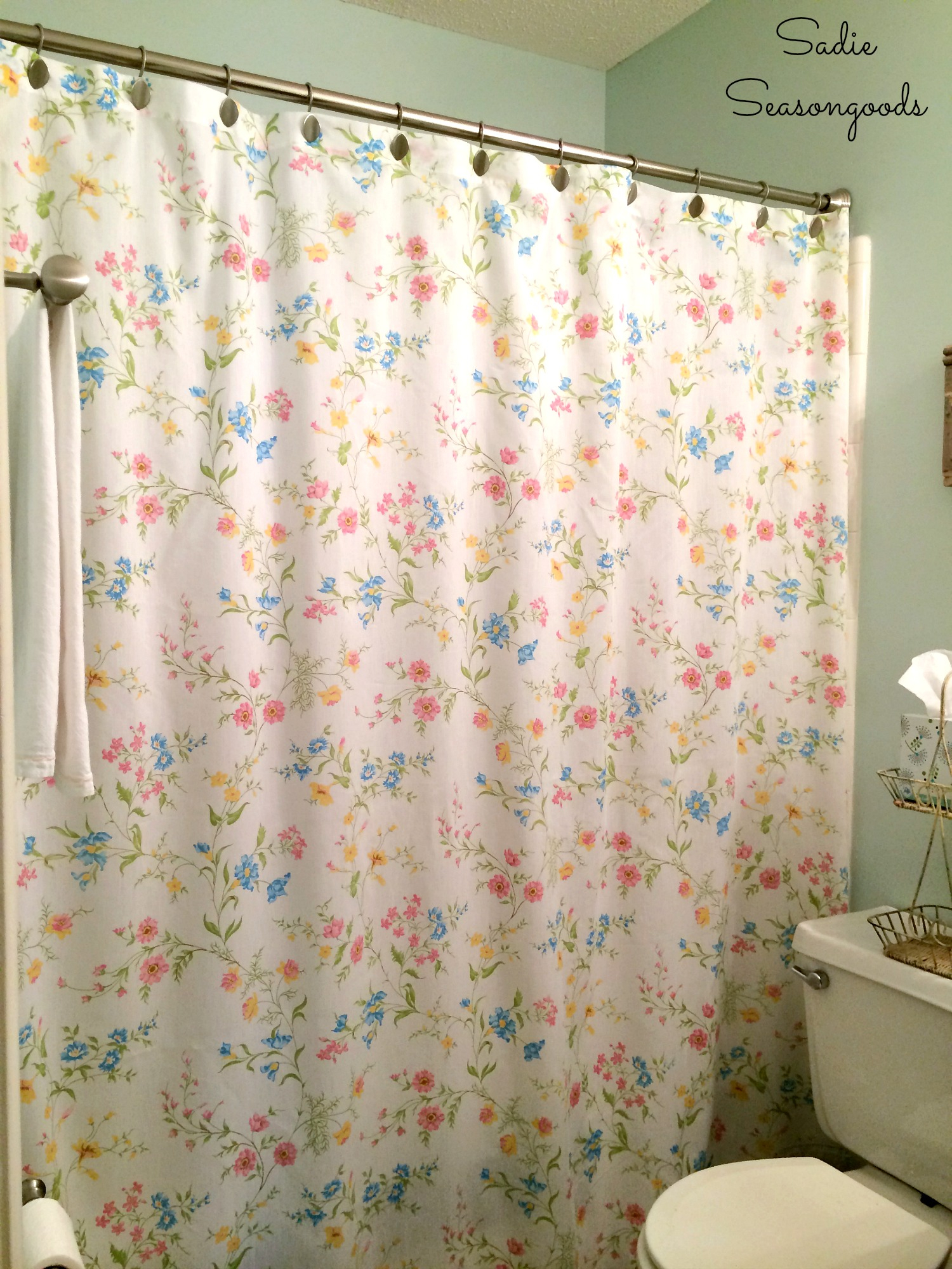 Diy Shower Curtain From A Repurposed Vintage Bed Sheet Inside Size 1500 X 2000