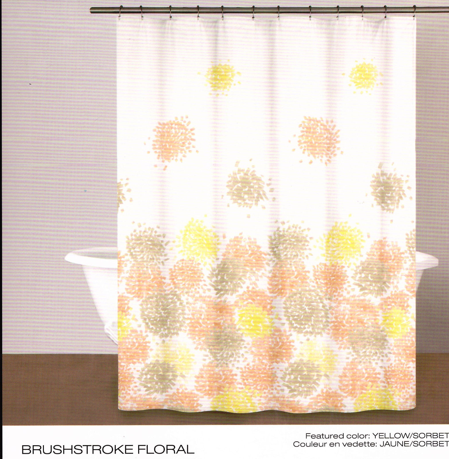 Dkny Brushstroke Floral Shower Curtain Yellowsorbet White Cotton Throughout Proportions 1565 X 1600