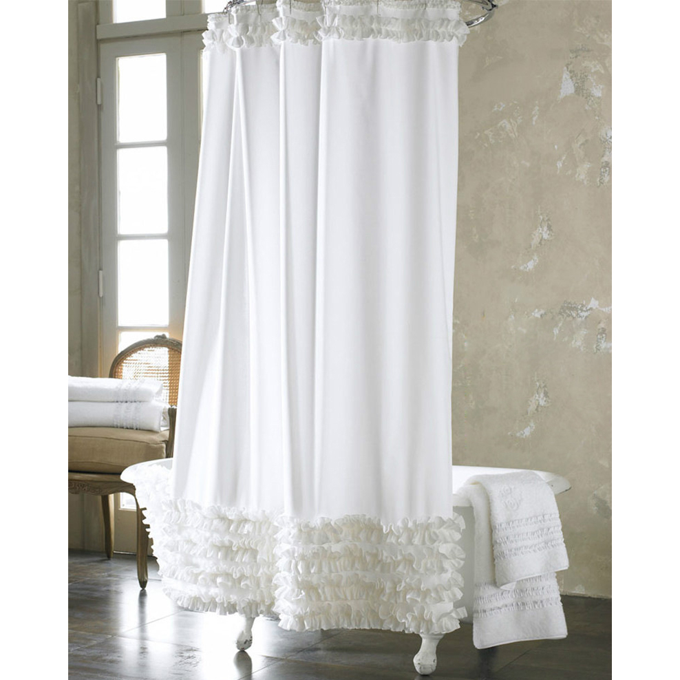 Dreamy French White Lace Luxury Shower Curtains with proportions 988 X 988