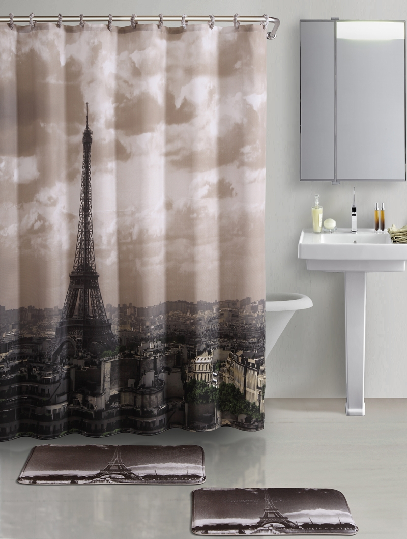 Eiffel Tower Shower Curtains Shower Curtain Ideas for sizing 800 X 1059
