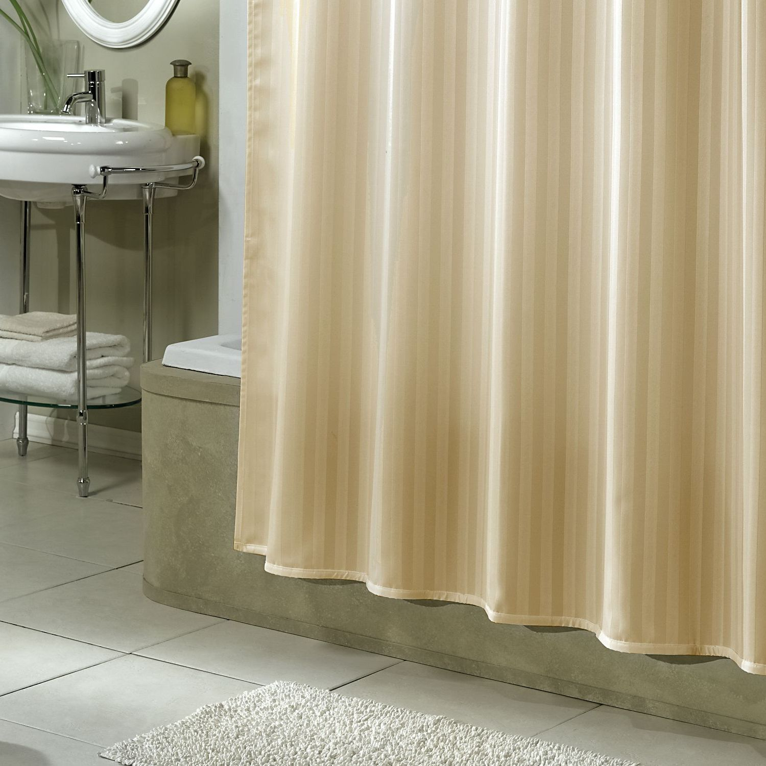 Elegant Fabric Shower Curtains With Valance Gray Floor White Brick regarding measurements 1500 X 1500