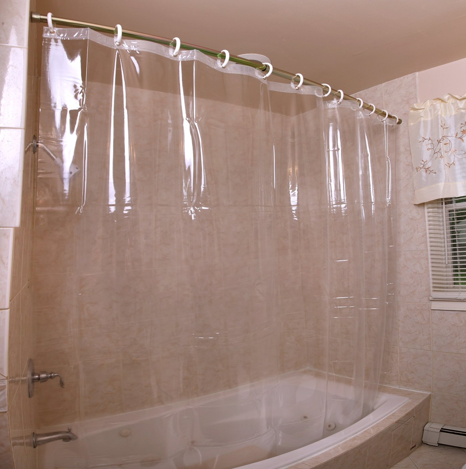 Clear Shower Curtain With Design.  Clear Plastic Shower Curtain Extra Long Curtains Ideas