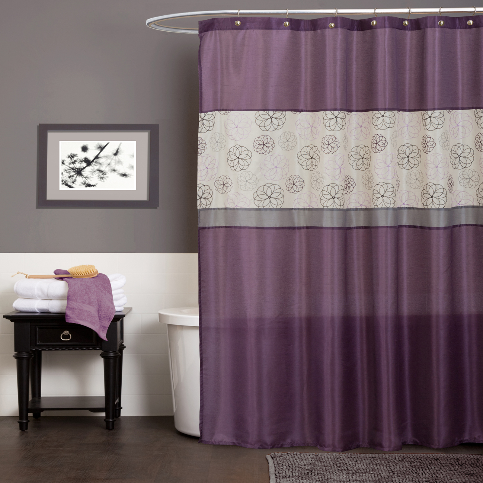 Floral Shower Curtain Kmart Com Covina Purple Idolza With Regard To Sizing 1600 X