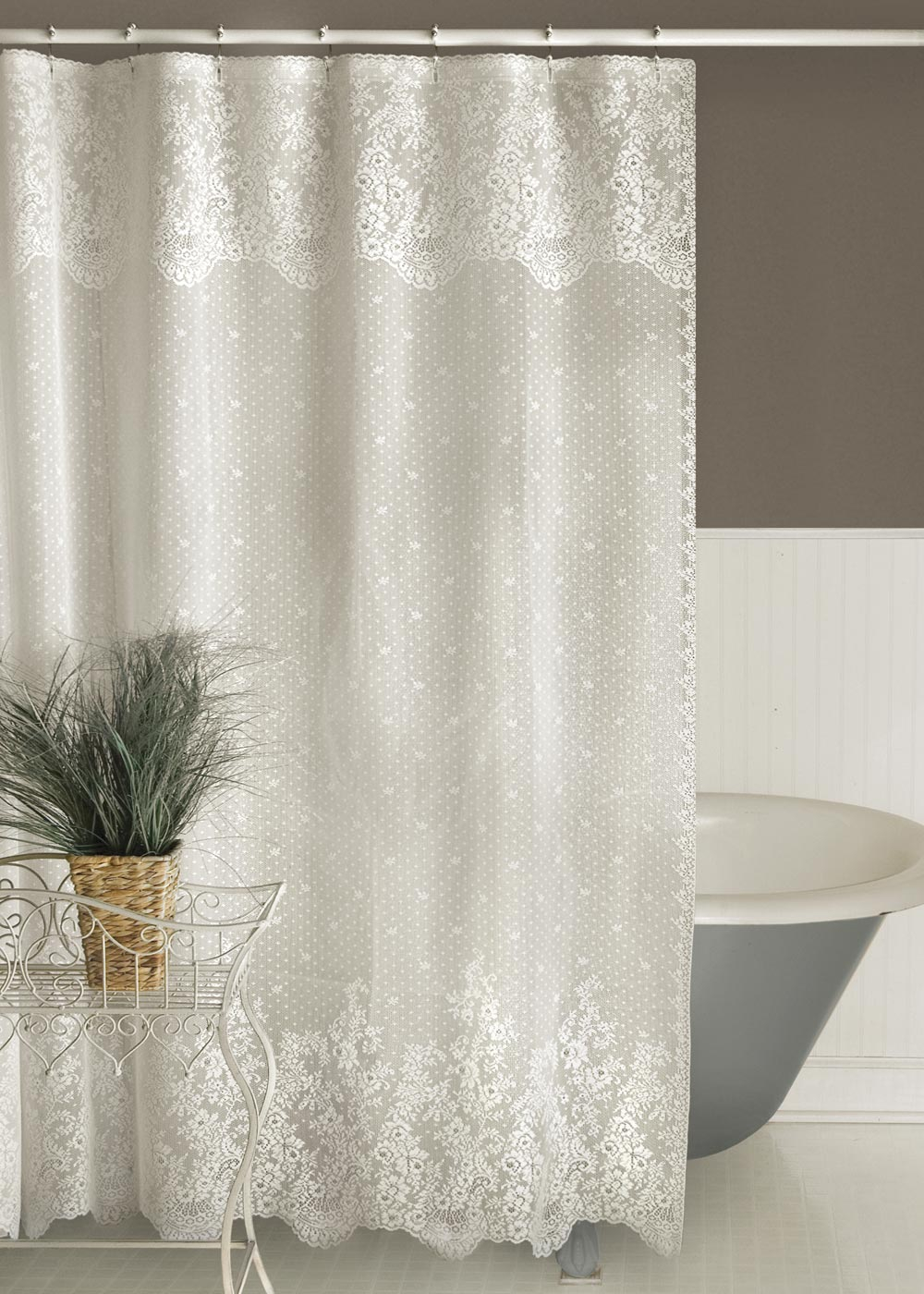 Floret Shower Curtain Heritage Lace in sizing 1000 X 1400