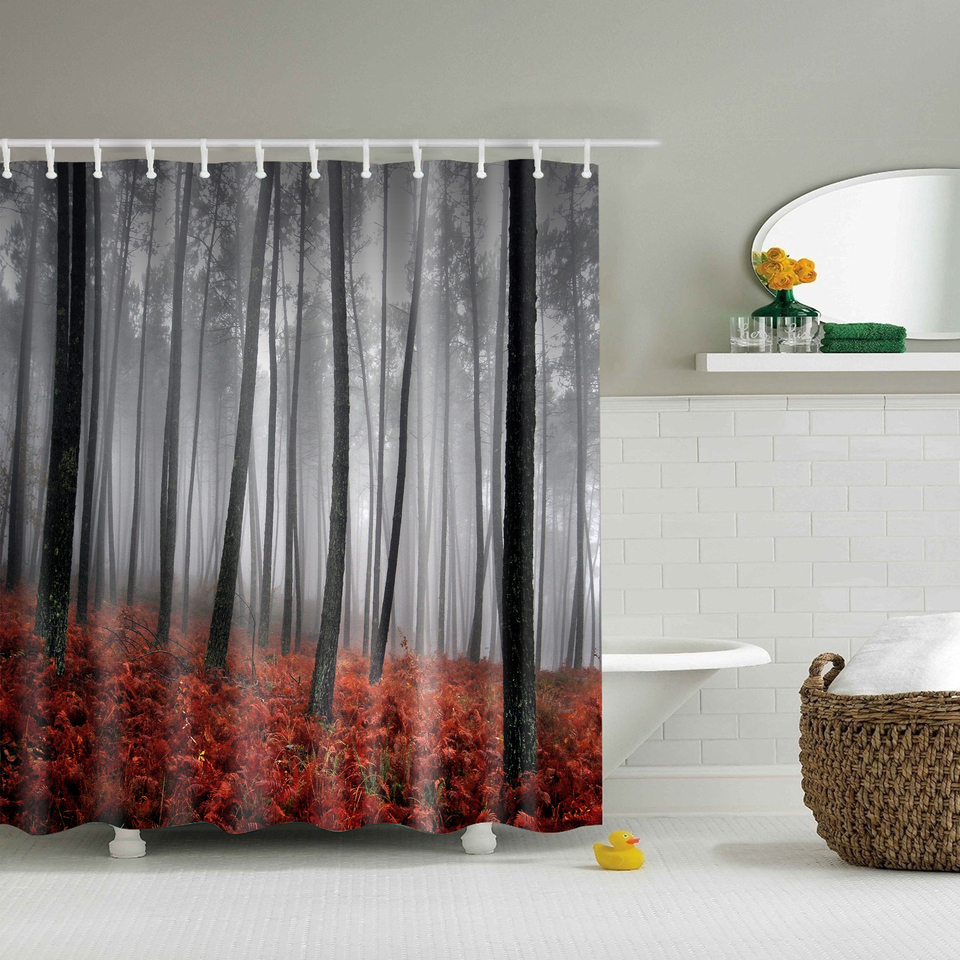 Foggy Forest Autumn Shower Curtains Waterproof Bathroom Curtains within sizing 960 X 960