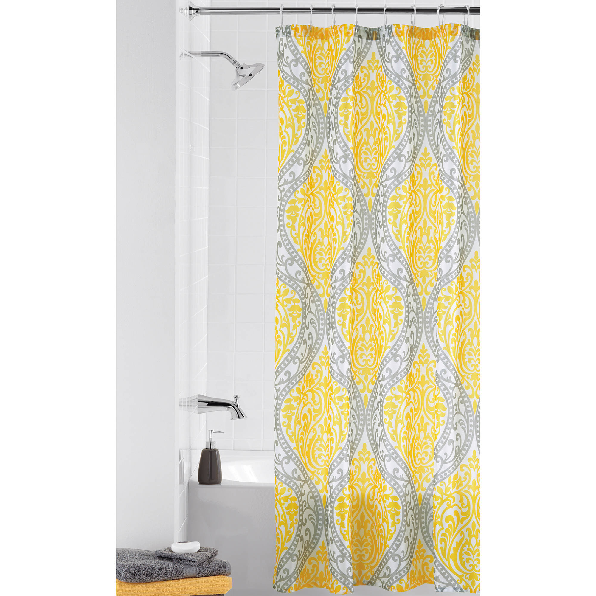 yellow black and gray shower curtain shower curtains ideas. Black Bedroom Furniture Sets. Home Design Ideas