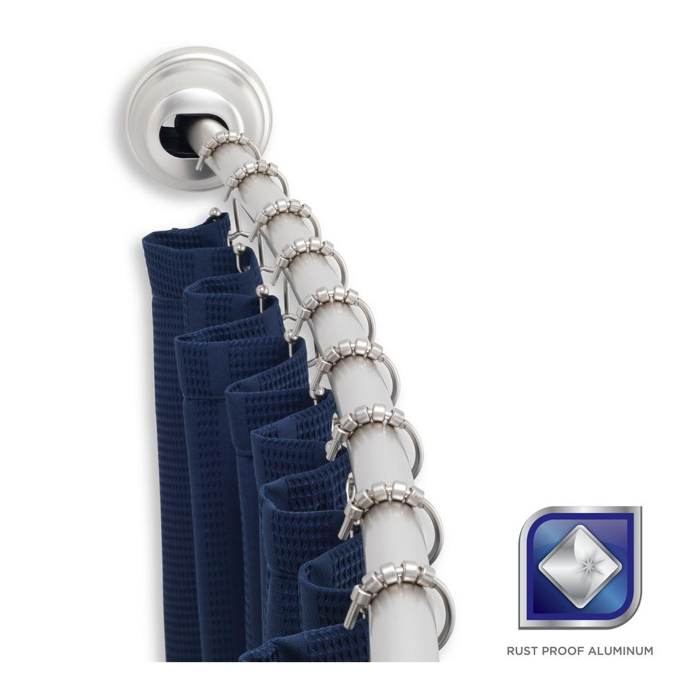 Adjustable Curved Tension Shower Curtain Rod • Shower Curtains Ideas