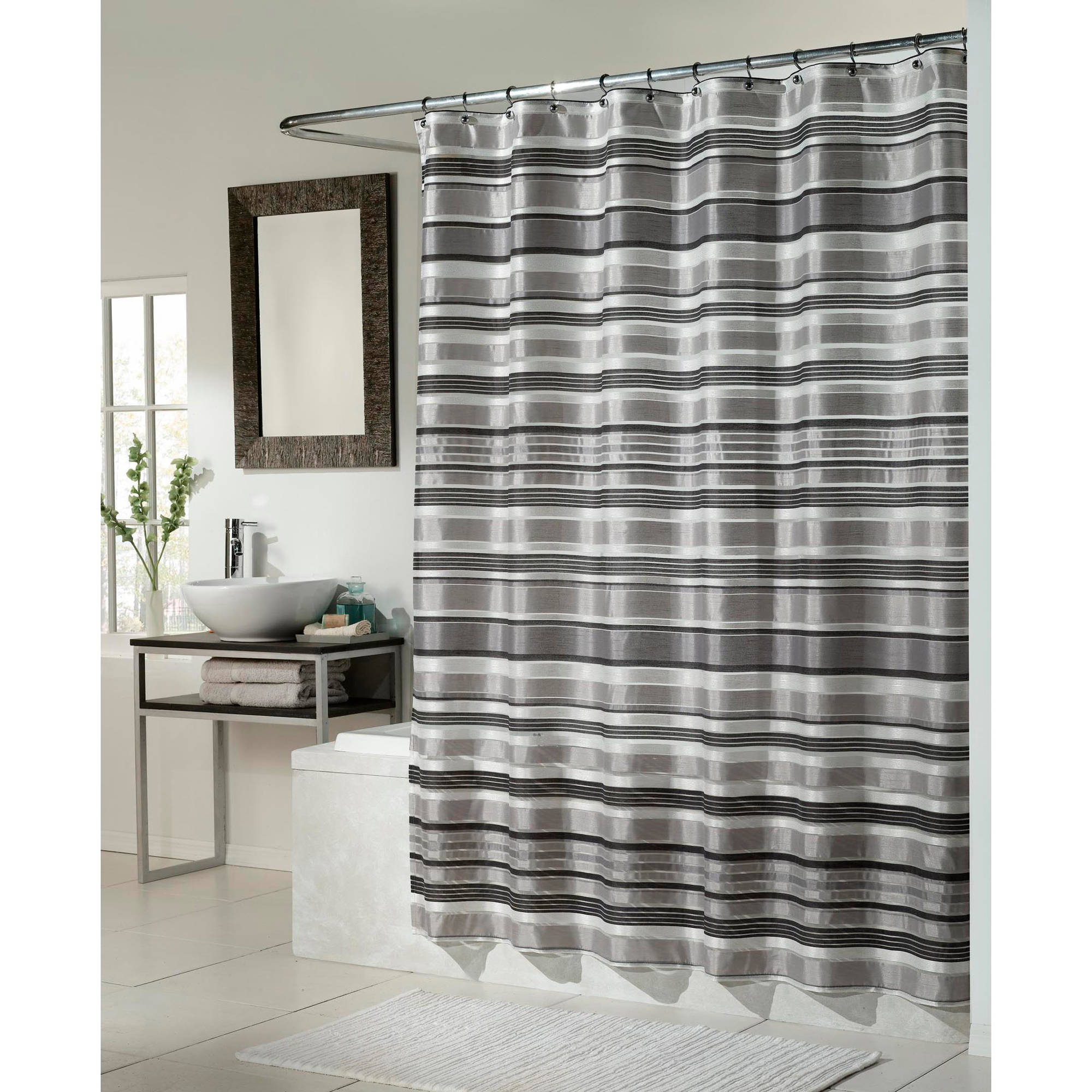 Glacier Fabric Shower Curtain Black Silver Combination Walmart Intended For Size 2000 X