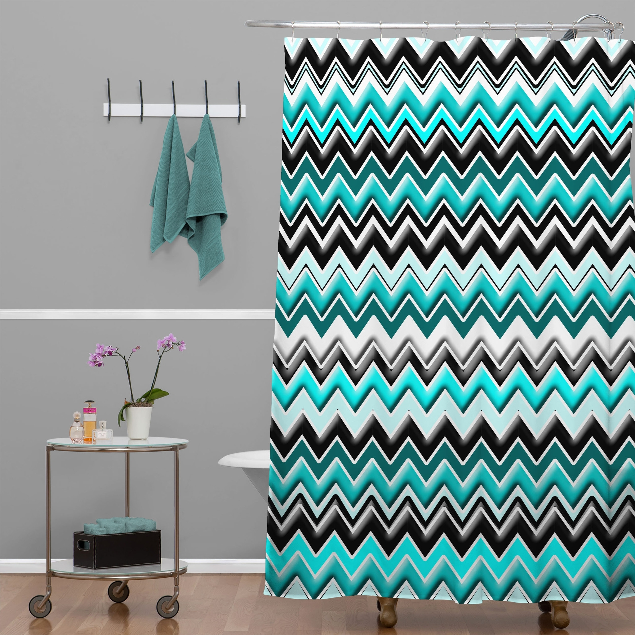 Teal And Gray Chevron Shower Curtain Shower Curtains Ideas