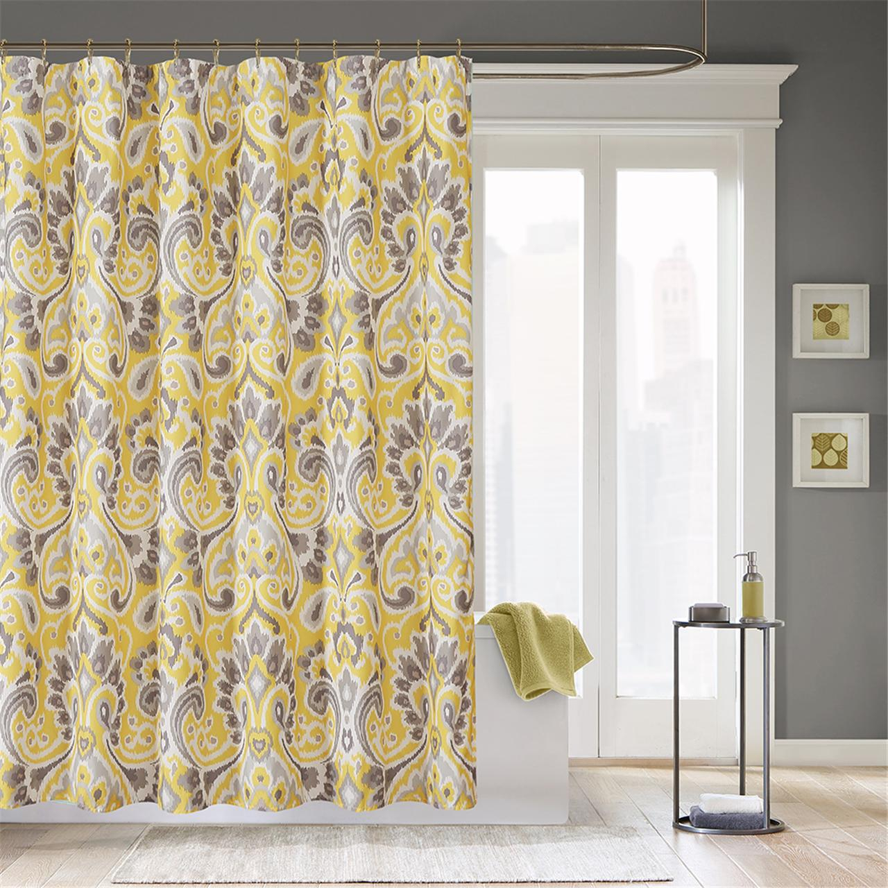 Yellow And White Bedroom Curtains: Yellow Patterned Shower Curtains