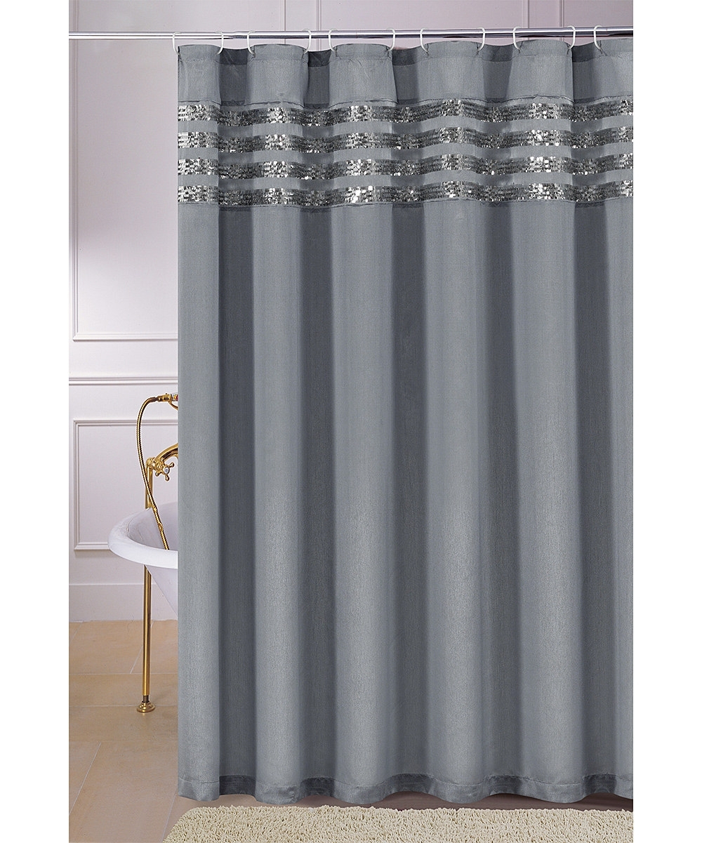Sinatra Silver Grey Fabric Shower Curtain W Sequins Home The Honoroak