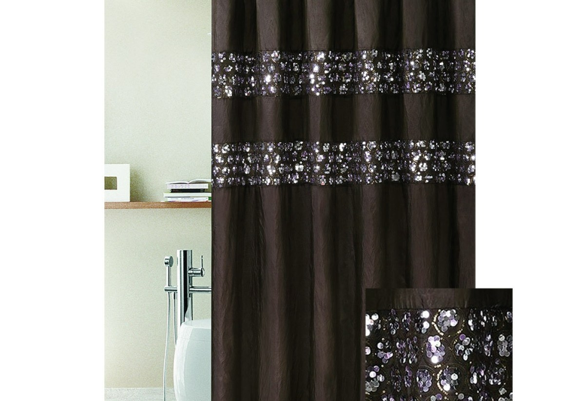 Gray Shower Curtain With Sequins Throughout Sizing 1190 X 822