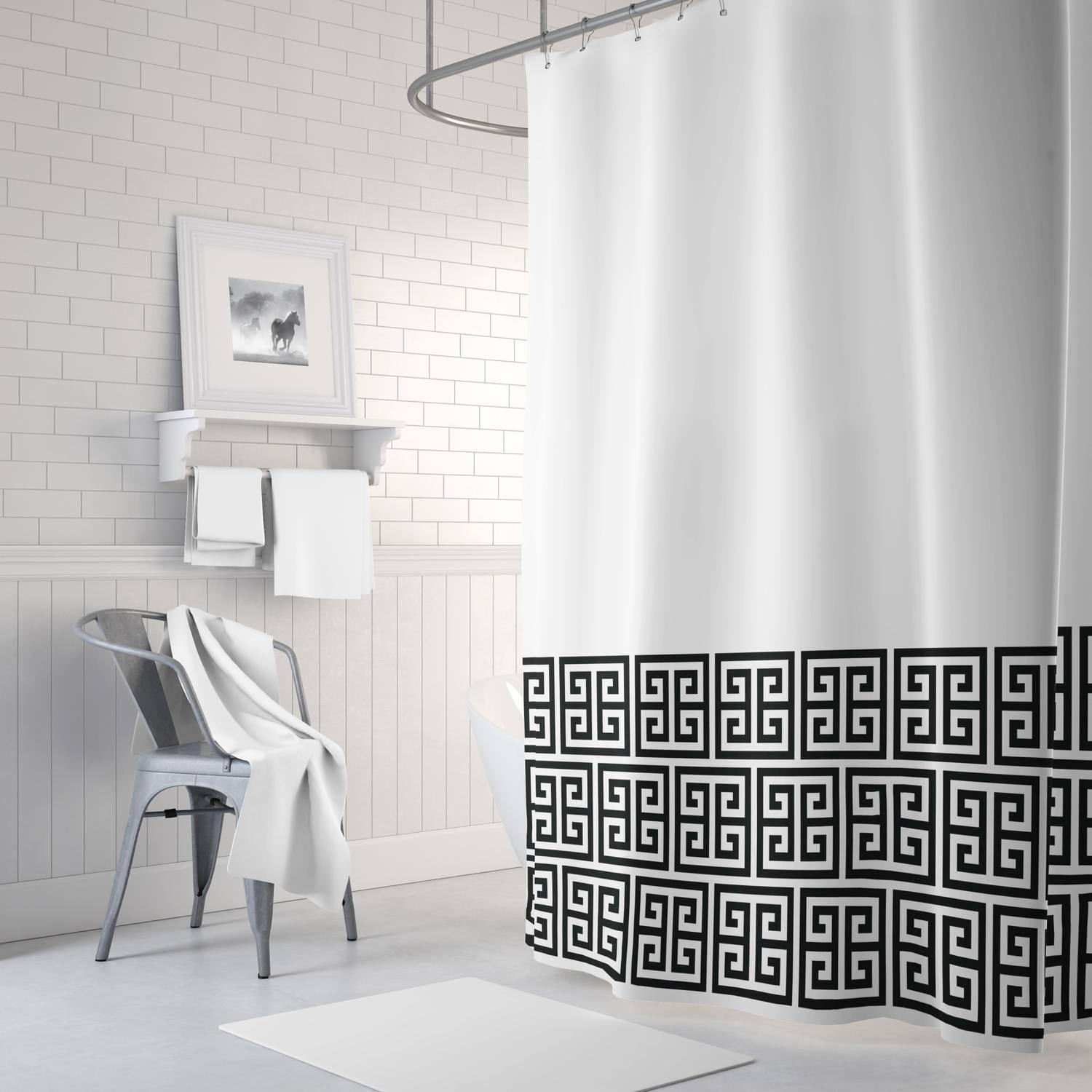 Greek Key Shower Curtain White And Black Or Choose Any within proportions 1500 X 1500
