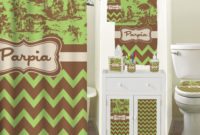 Green Brown Toile Chevron Shower Curtain Personalized inside dimensions 1500 X 1436