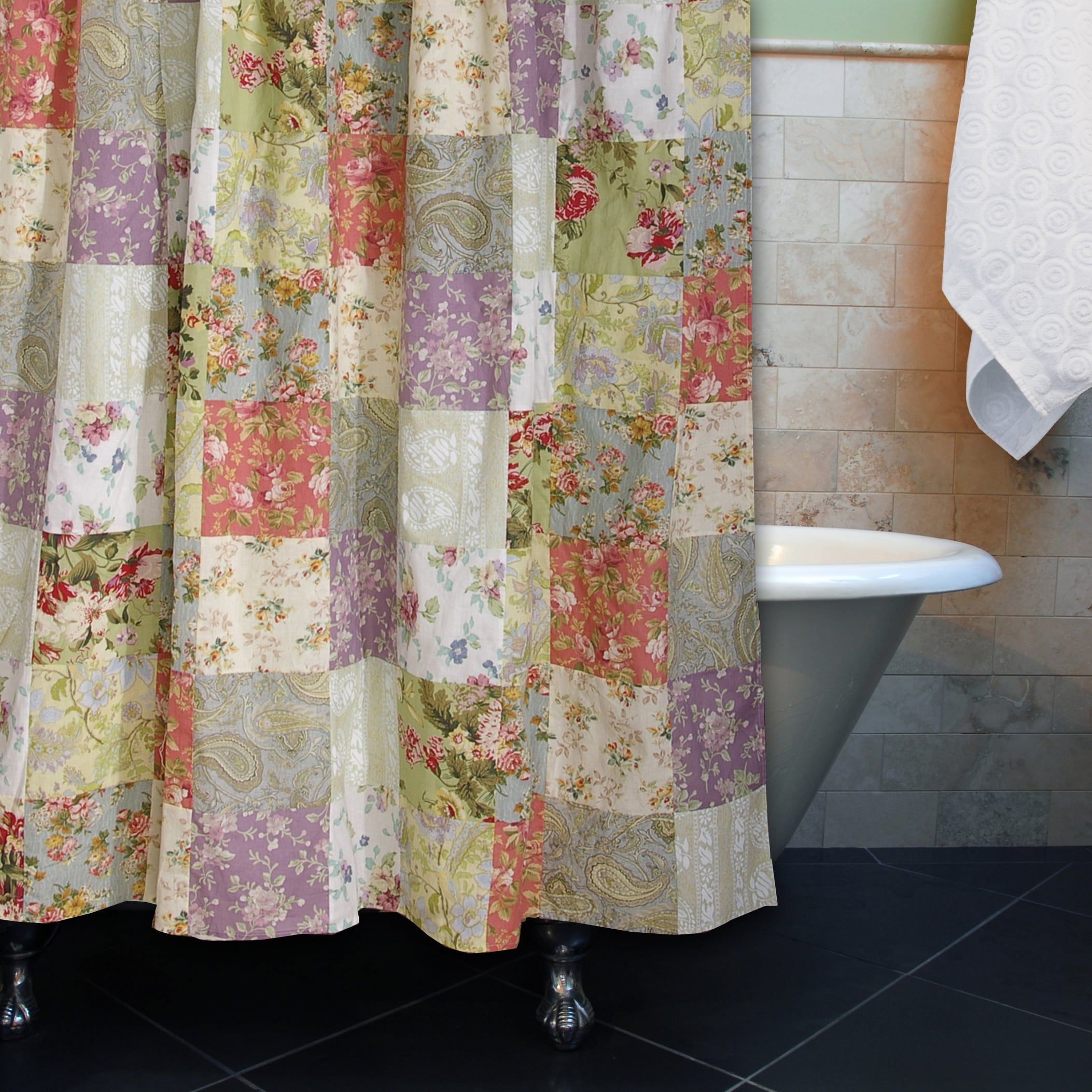 Greenland Home Fashions Blooming Prairie Patchwork Cotton Shower in size 2106 X 2106