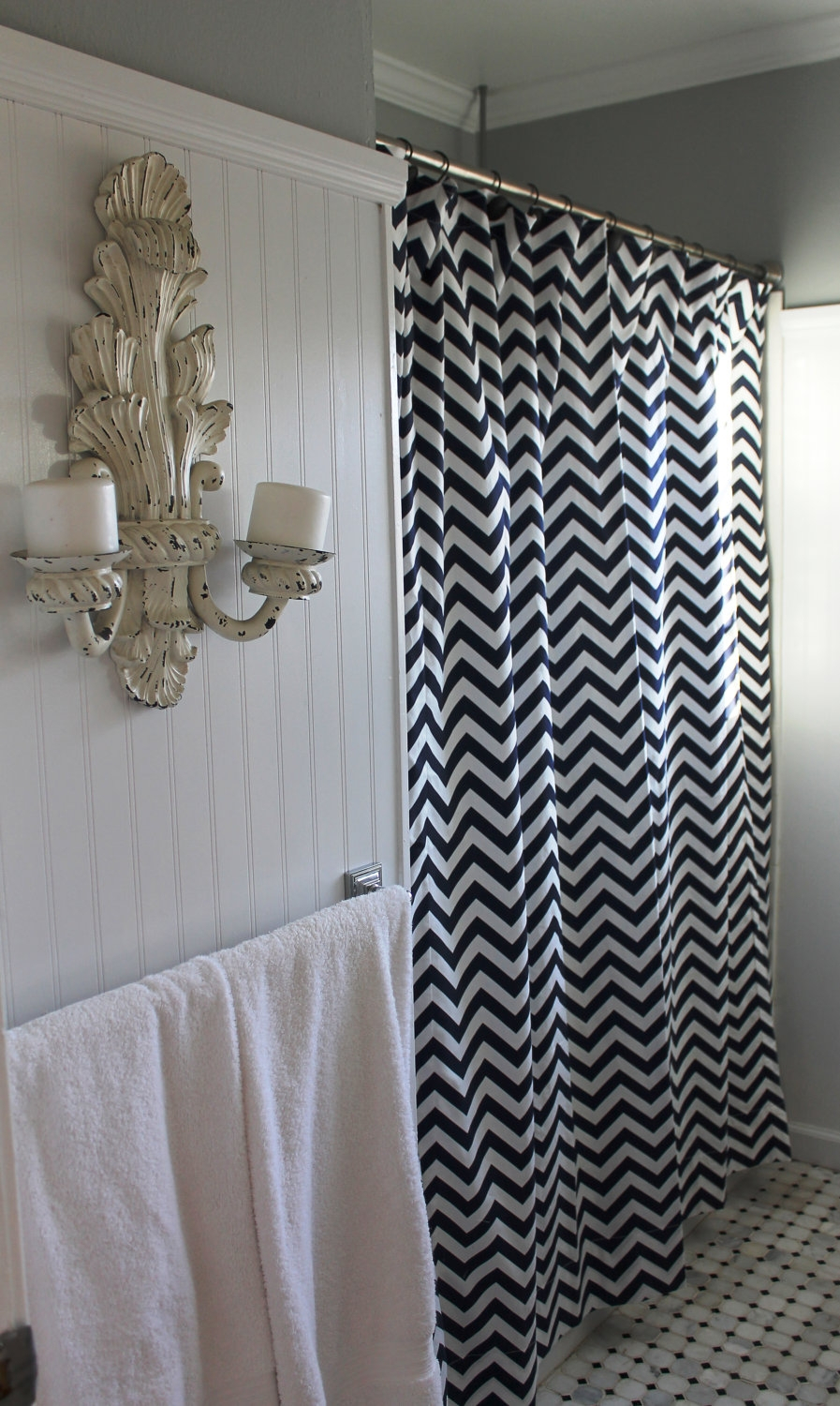 Grey And Blue Chevron Shower Curtain Shower Curtain within size 897 X 1500