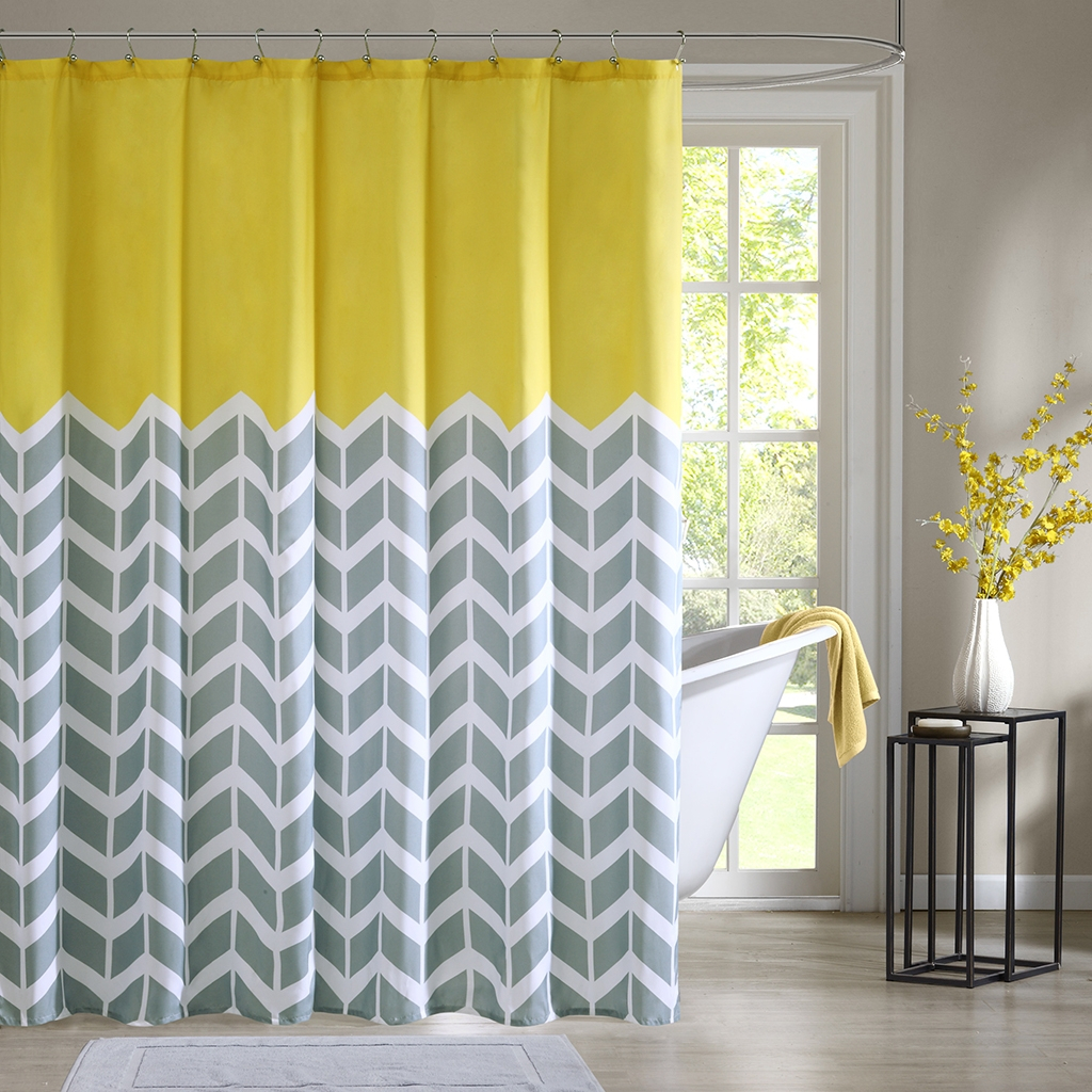 Grey And White Chevron Print Shower Curtain Shower Curtain Ideas inside sizing 1024 X 1024