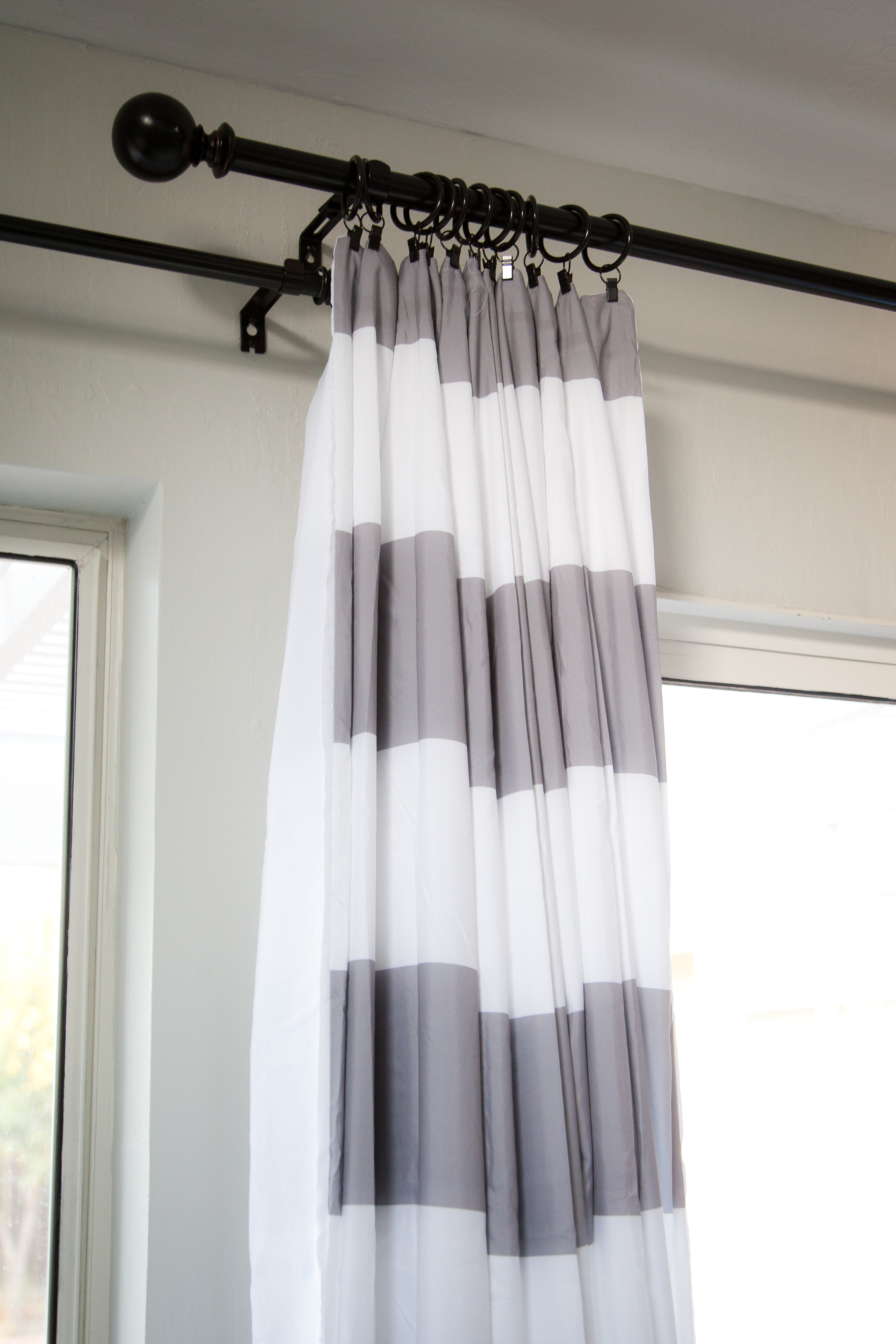 Grey And White Fabric Striped Shower Curtain On Black Hook intended for proportions 2592 X 3888