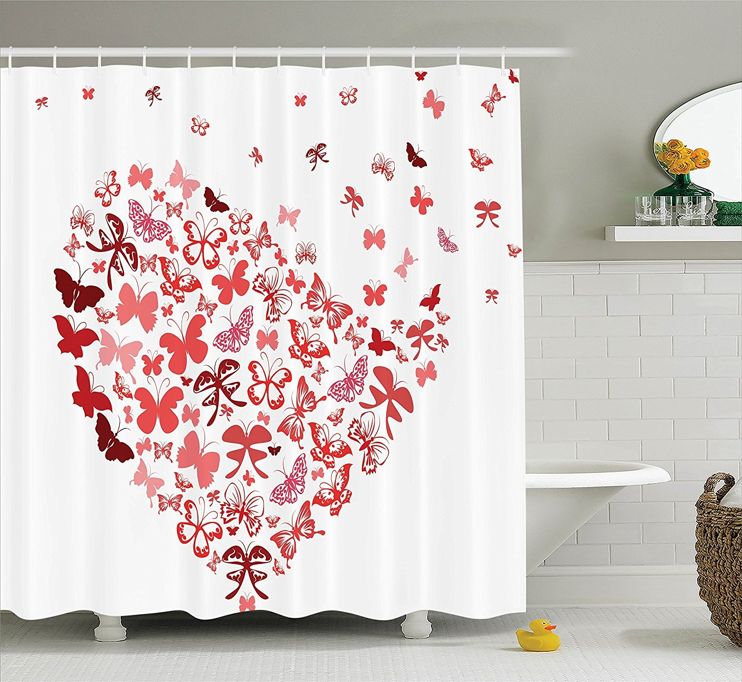 Pink Heart Shower Curtain Hooks • Shower Curtains Ideas