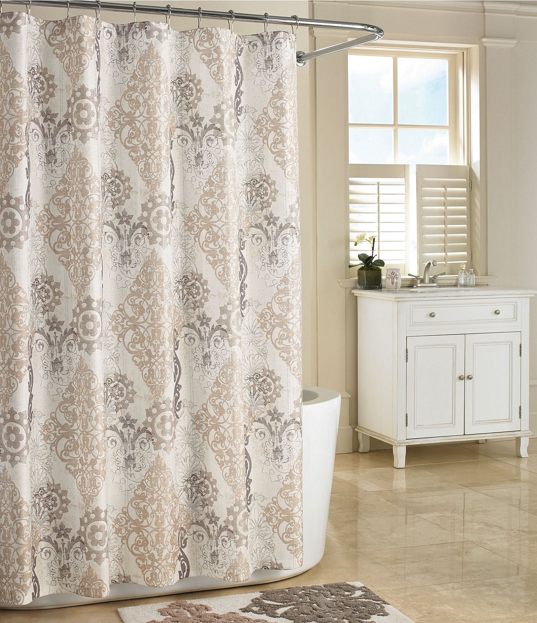 Brown And Cream Damask Shower Curtain • Shower Curtains Ideas