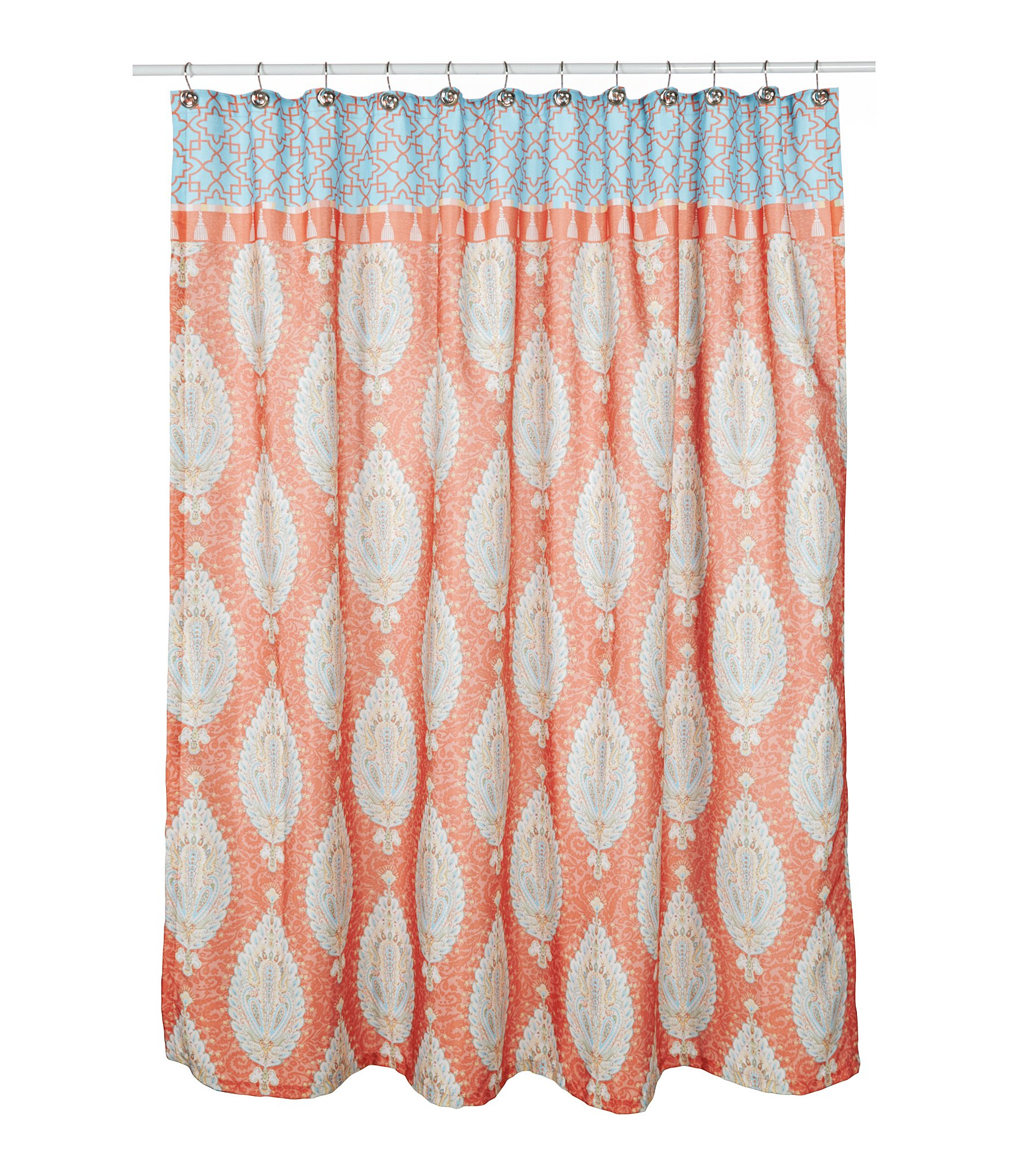 Orange and pink shower curtain soozone for Pink and orange bathroom ideas