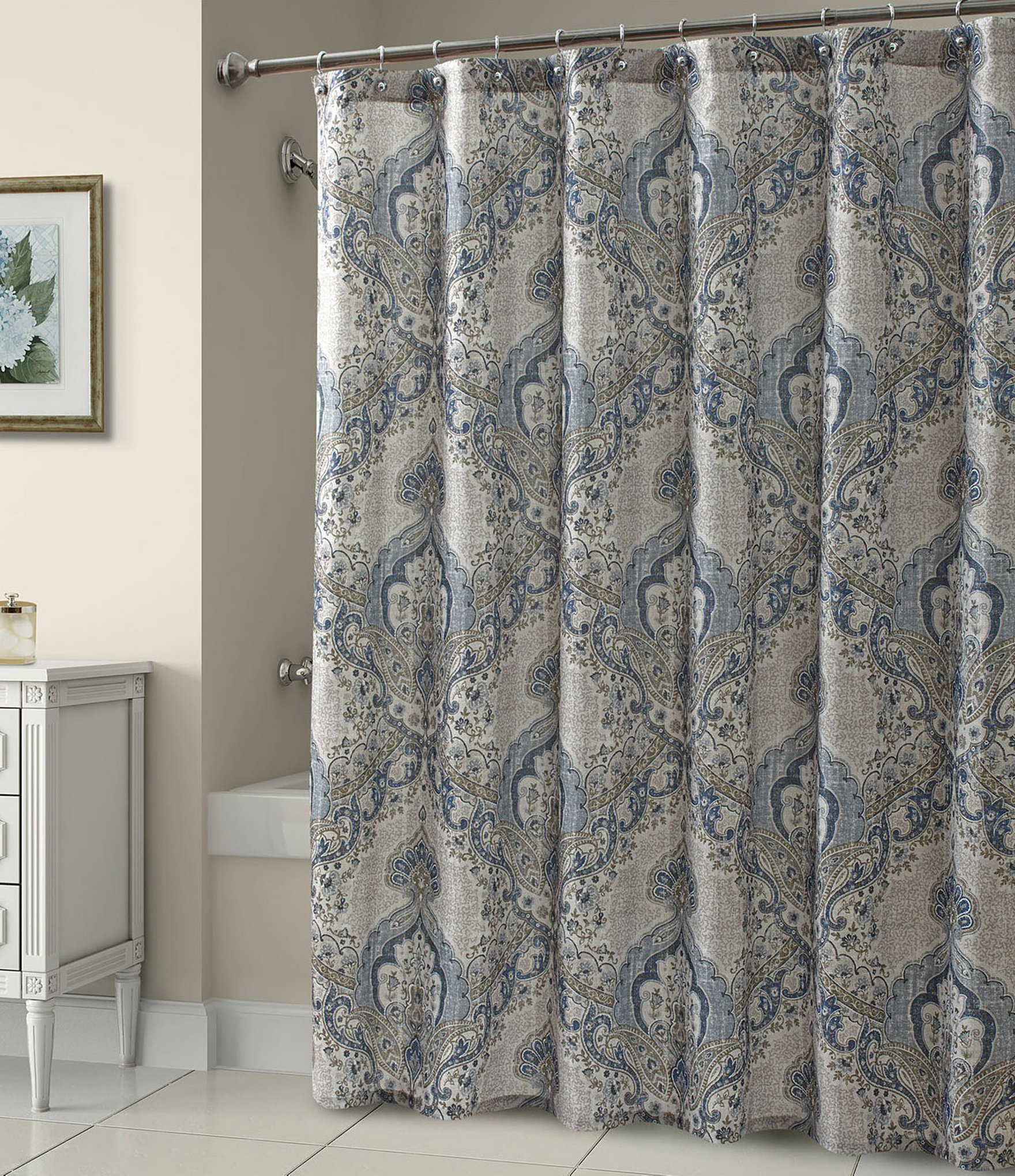 Blue And Gray Shower Curtain • Shower Curtains Ideas