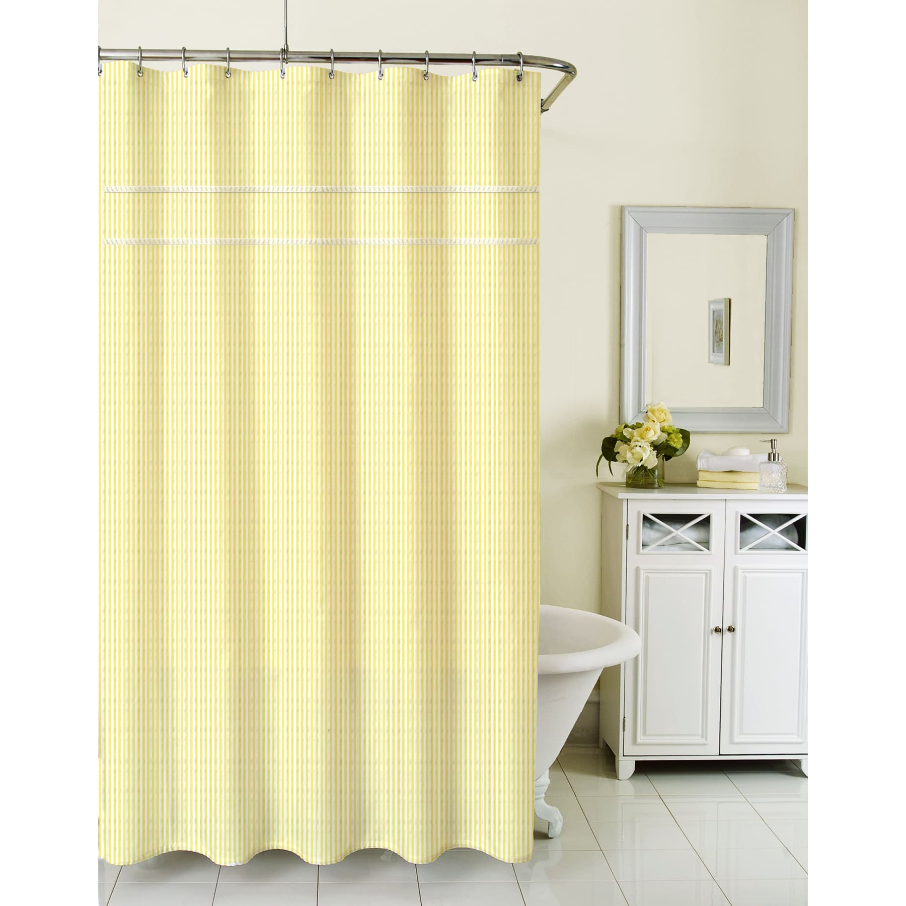 Homewear Sunny Day Seersucker Yellow Shower Curtain Free With Regard To  Measurements 1800 X 1800