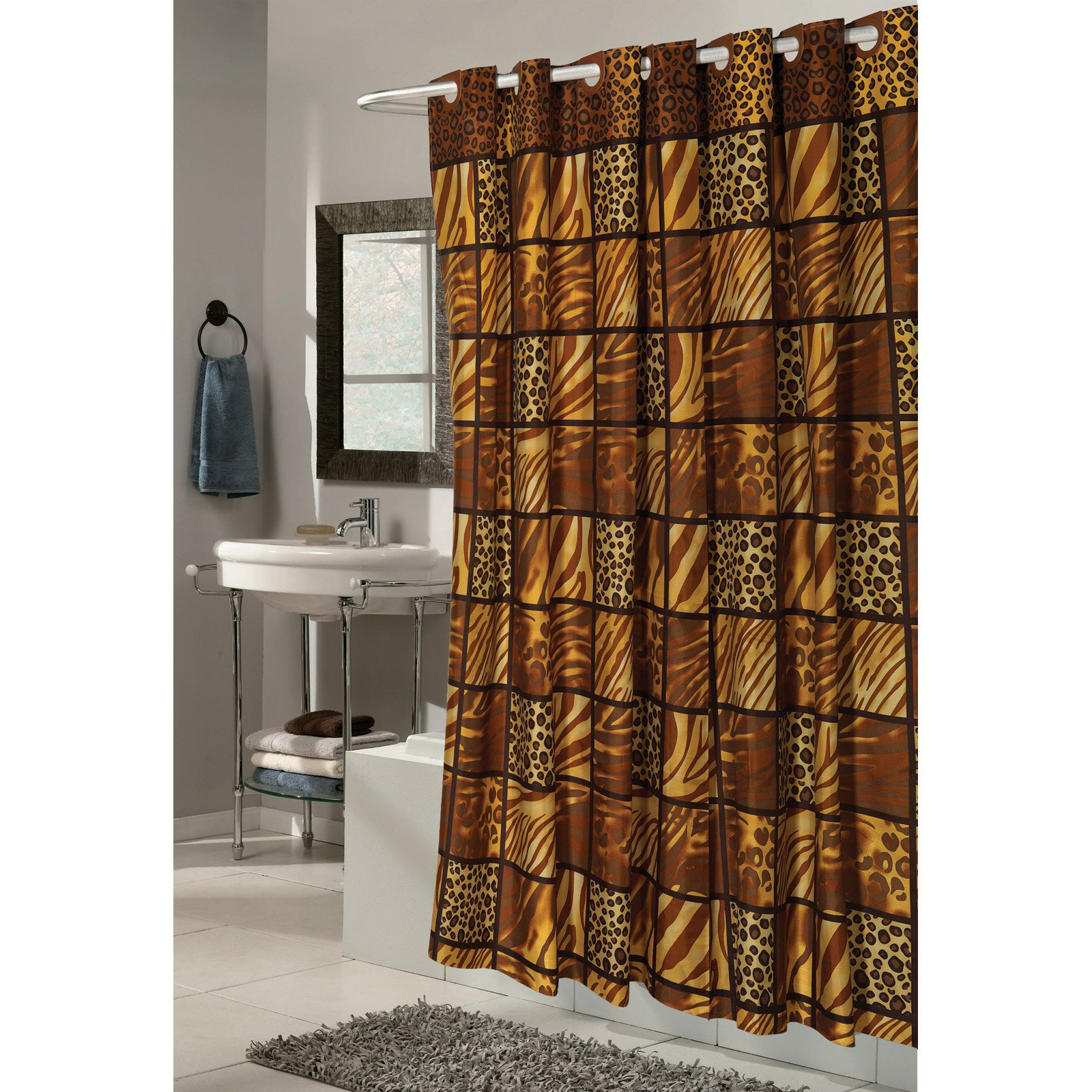 Hookless Shower Curtain With Mesh Pockets Vision Window Curtains Drapes