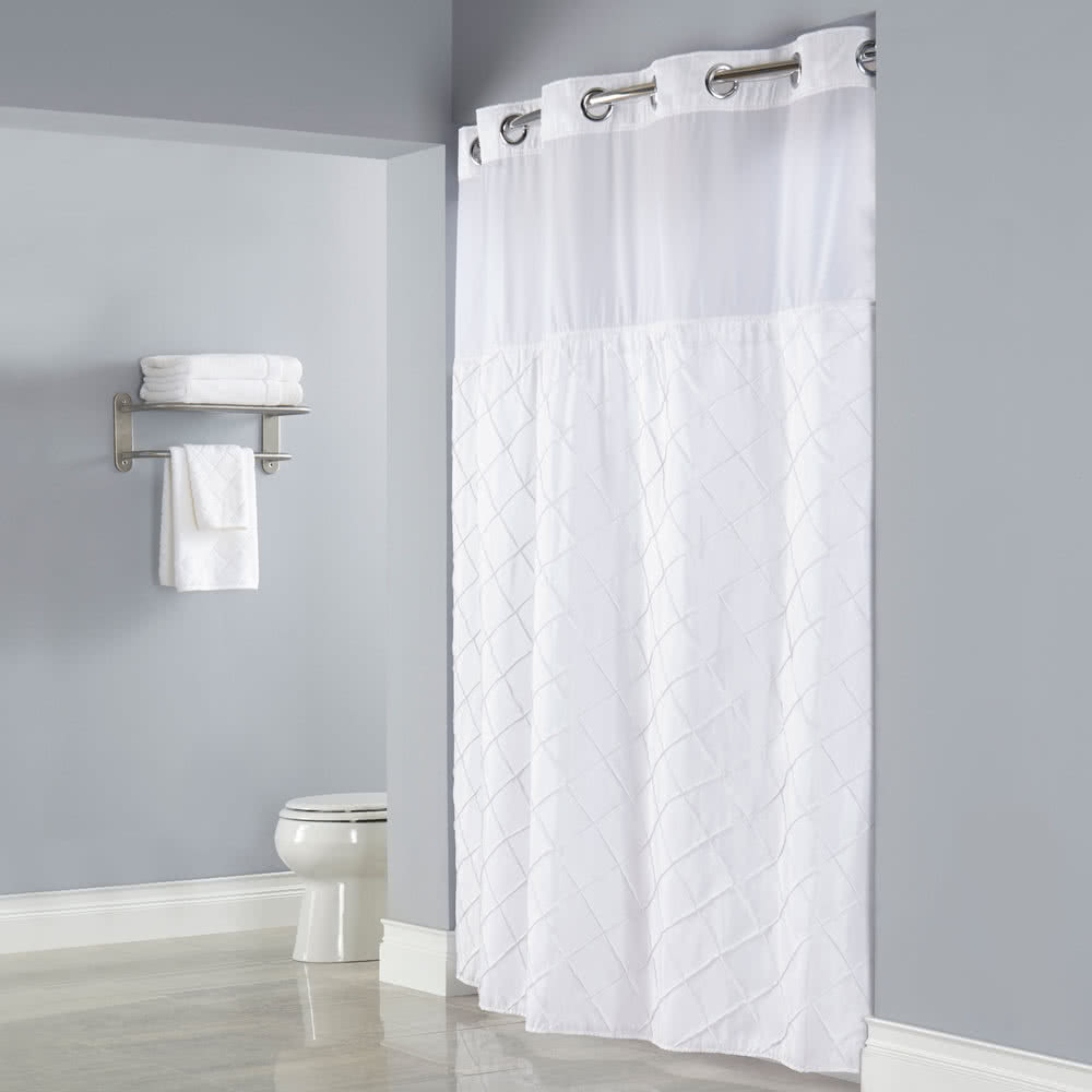 Hookless Hbh12ptk01sl77 White Pintuck Shower Curtain With Chrome pertaining to size 1000 X 1000
