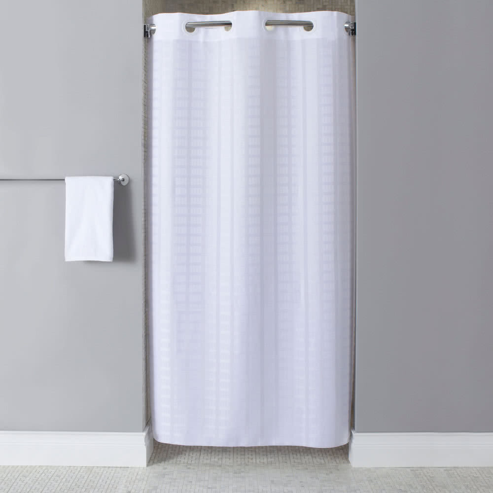 Hookless Hbh43lit01sx White Stall Size Litchfield Shower Curtain with regard to dimensions 1000 X 1000