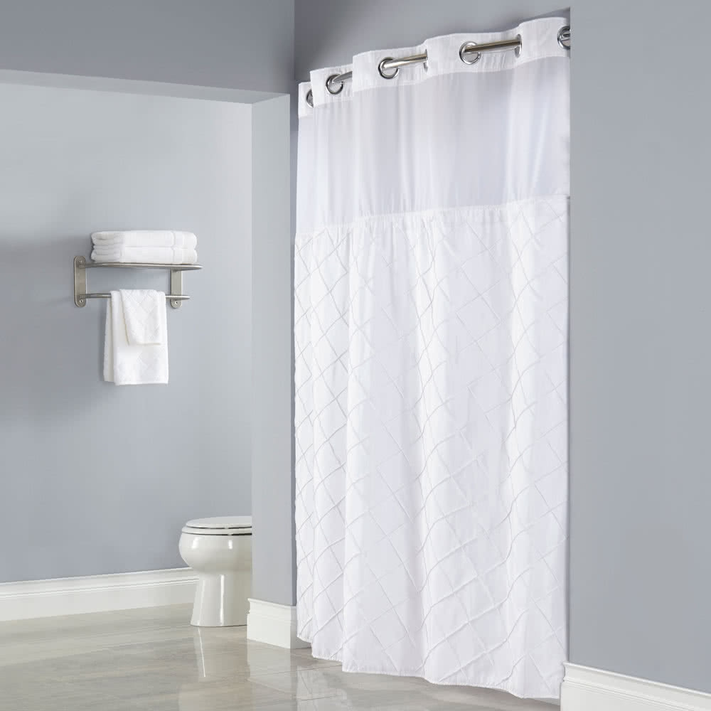 Hookless Vision Vinyl Shower Curtain With Four Mesh Pockets